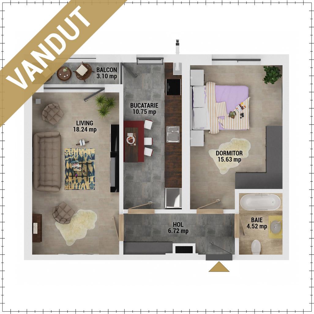 Apartament 2 camere de vanzare Bucuresti - Uverturii Residence - Militari - Lujerului - Gorjului - Tip 8 - T1 - EV