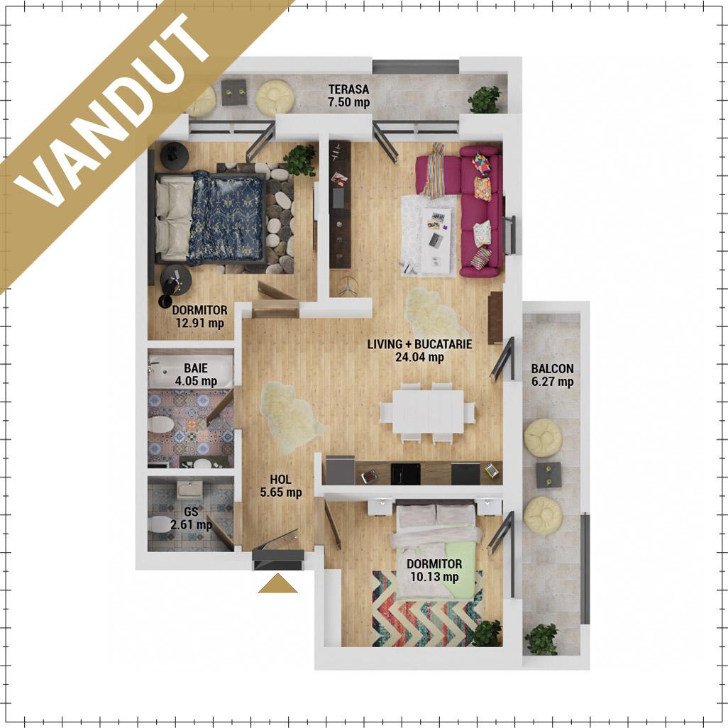 Apartamente 3 camere de vanzare Bucuresti - Uverturii Residence - Militari - Lujerului - Gorjului - Tip 2 - T3 - FV