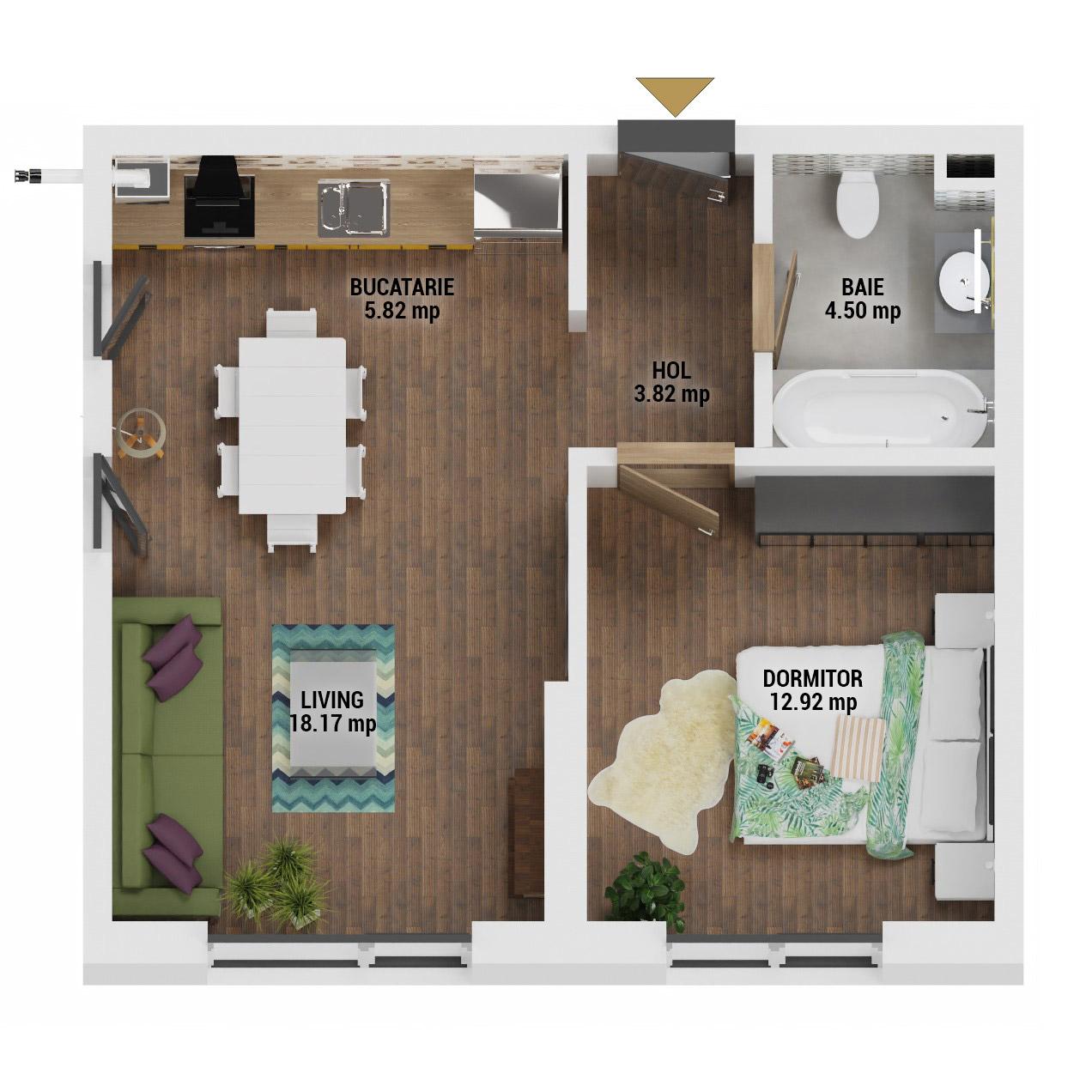 Apartament 2 camere de vanzare Bucuresti - Uverturii Residence - Militari - Lujerului - Gorjului - Tip 1 - T1 - D
