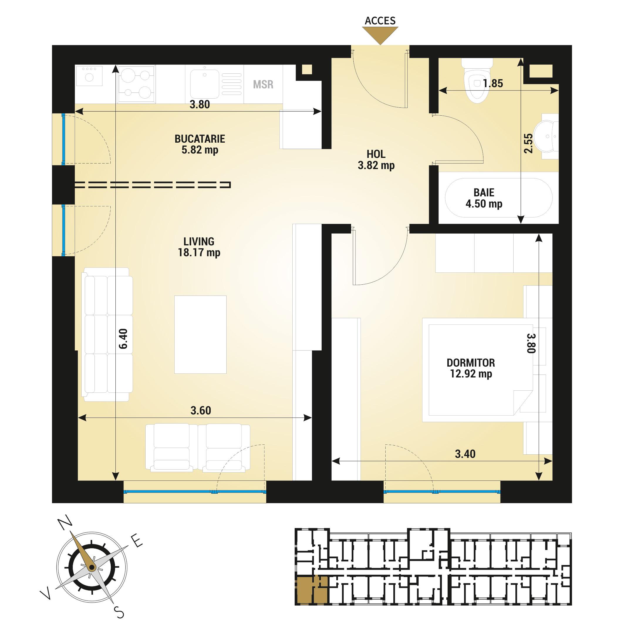 Apartament 2 camere de vanzare Bucuresti - Uverturii Residence - Militari - Lujerului - Gorjului - Tip 1 - T1