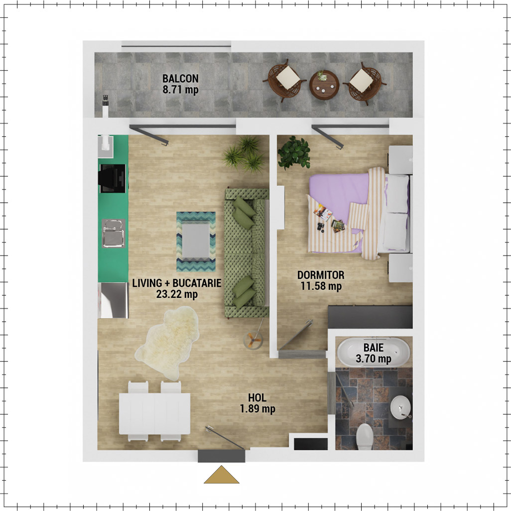 Apartament 2 camere de vanzare Bucuresti - Uverturii Residence - Militari - Lujerului - Gorjului - Tip 1 - T2 - E