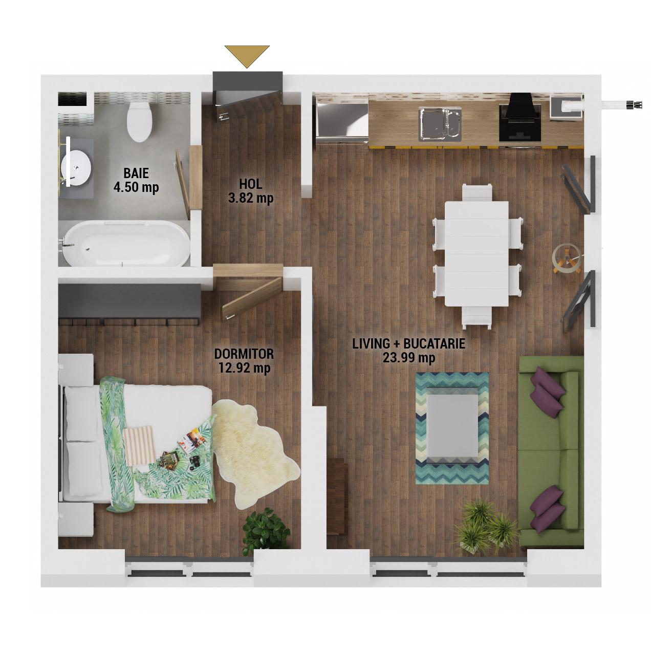 Apartament 2 camere de vanzare Bucuresti - Uverturii Residence - Militari - Lujerului - Gorjului - Tip 1 - T3 - E