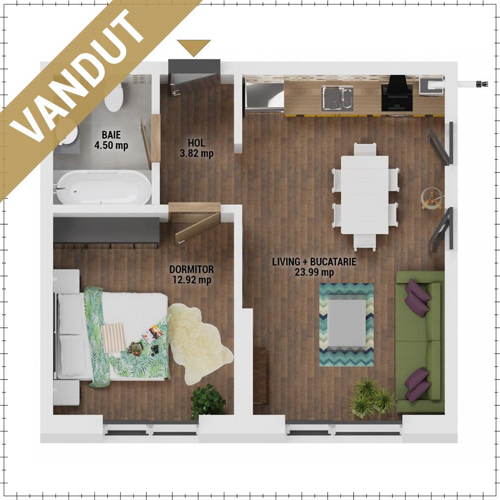 Apartament 2 camere de vanzare Bucuresti - Uverturii Residence - Militari - Lujerului - Gorjului - Tip 1 - T3 - FV
