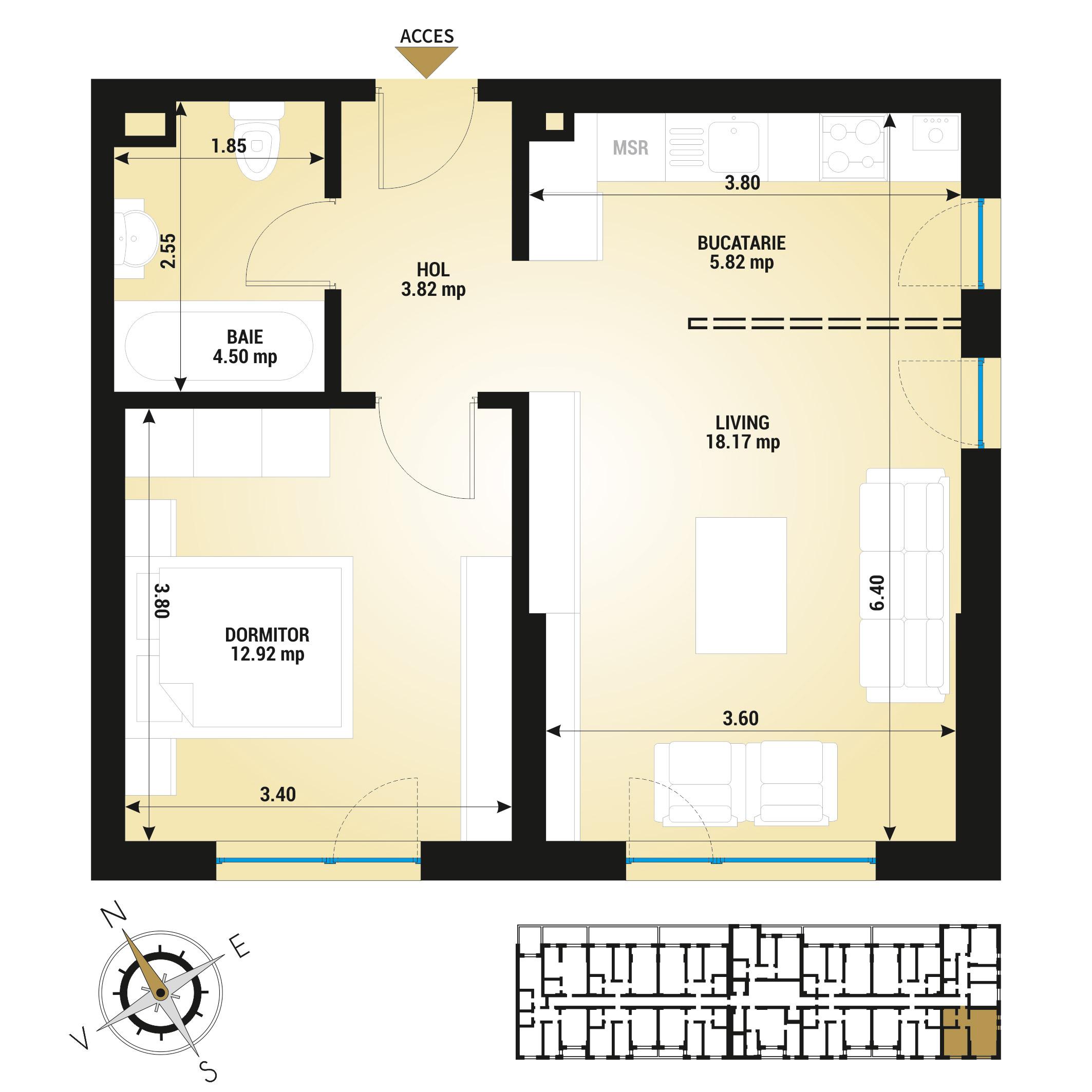 Apartament 2 camere de vanzare Bucuresti - Uverturii Residence - Militari - Lujerului - Gorjului - Tip 1 - T3