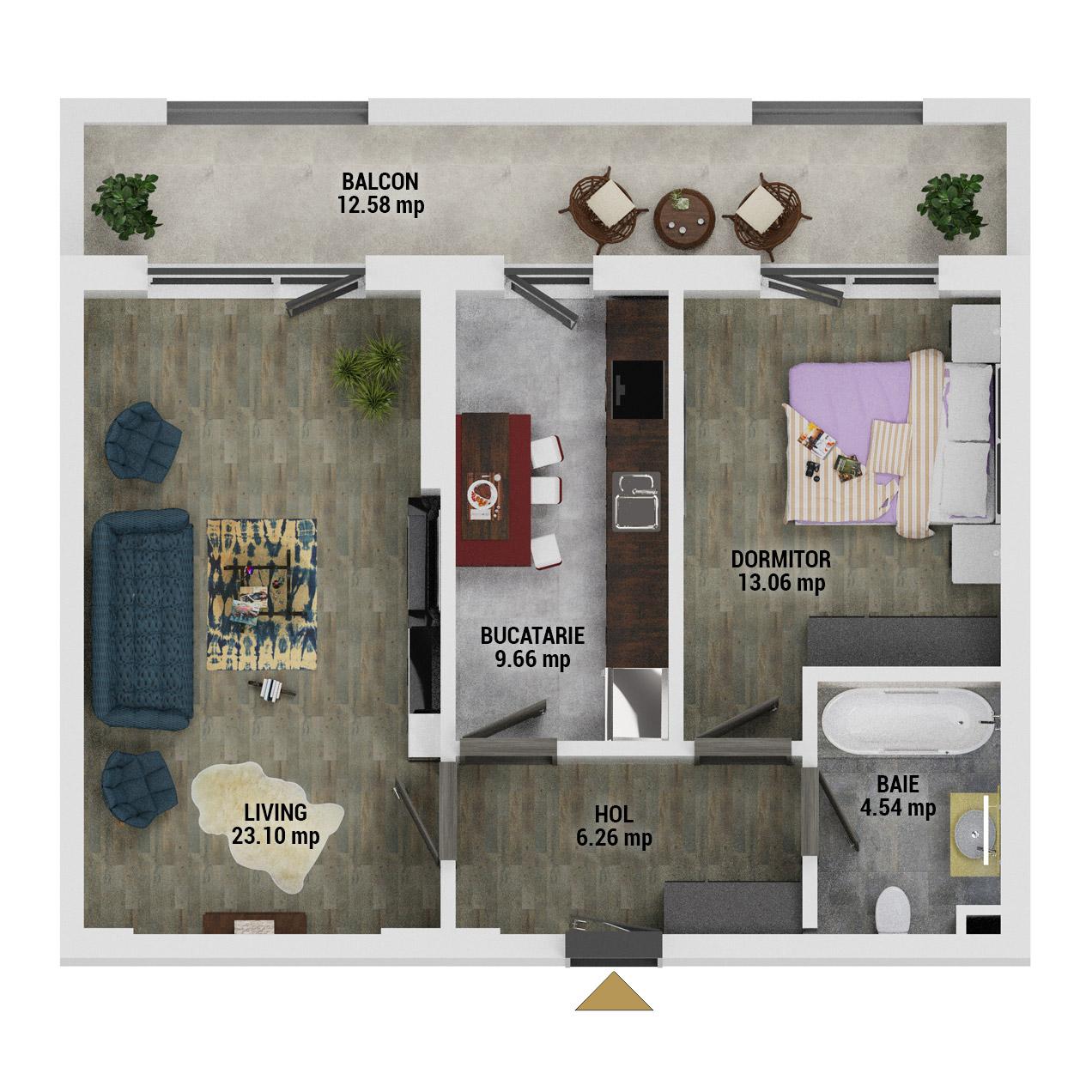 Apartament 2 camere de vanzare Bucuresti - Uverturii Residence - Militari - Lujerului - Gorjului - Tip 10 - T1 - D