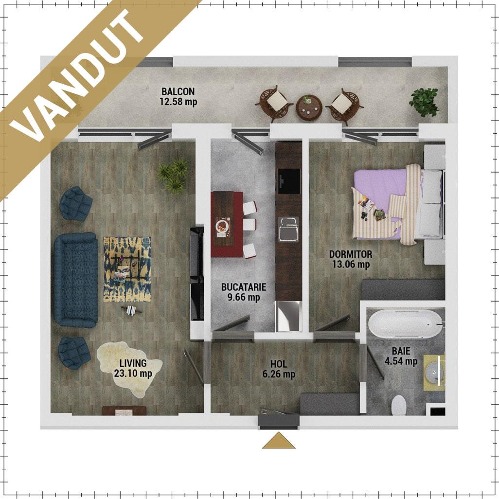 Apartament 2 camere de vanzare Bucuresti - Uverturii Residence - Militari - Lujerului - Gorjului - Tip 10 - T1 - V