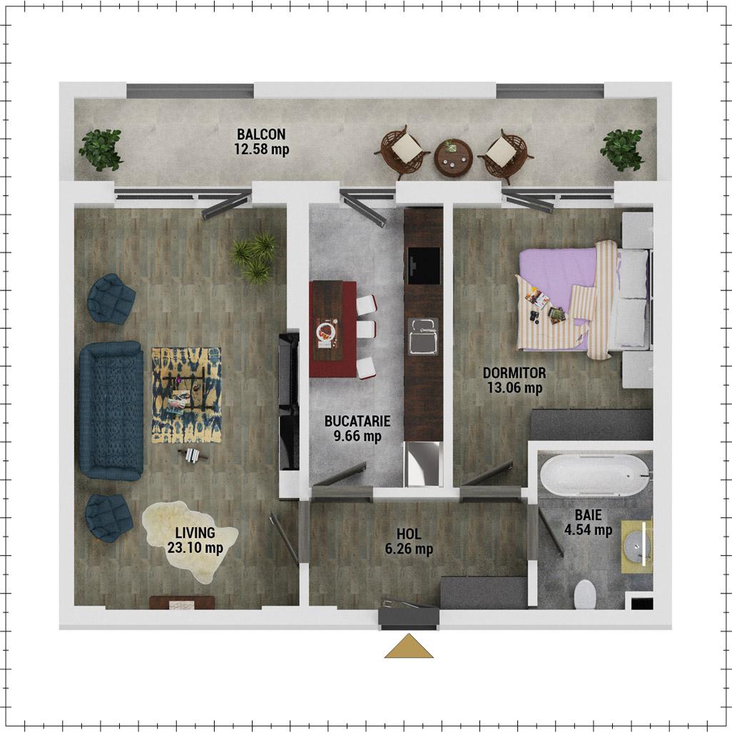 Apartament 2 camere de vanzare Bucuresti - Uverturii Residence - Militari - Lujerului - Gorjului - Tip 10 - T1 - E