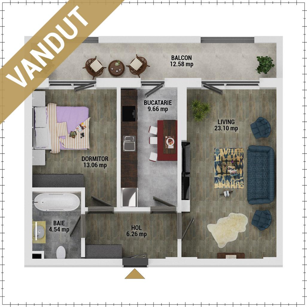 Apartament 2 camere de vanzare Bucuresti - Uverturii Residence - Militari - Lujerului - Gorjului - Tip 10 - T3 - FV