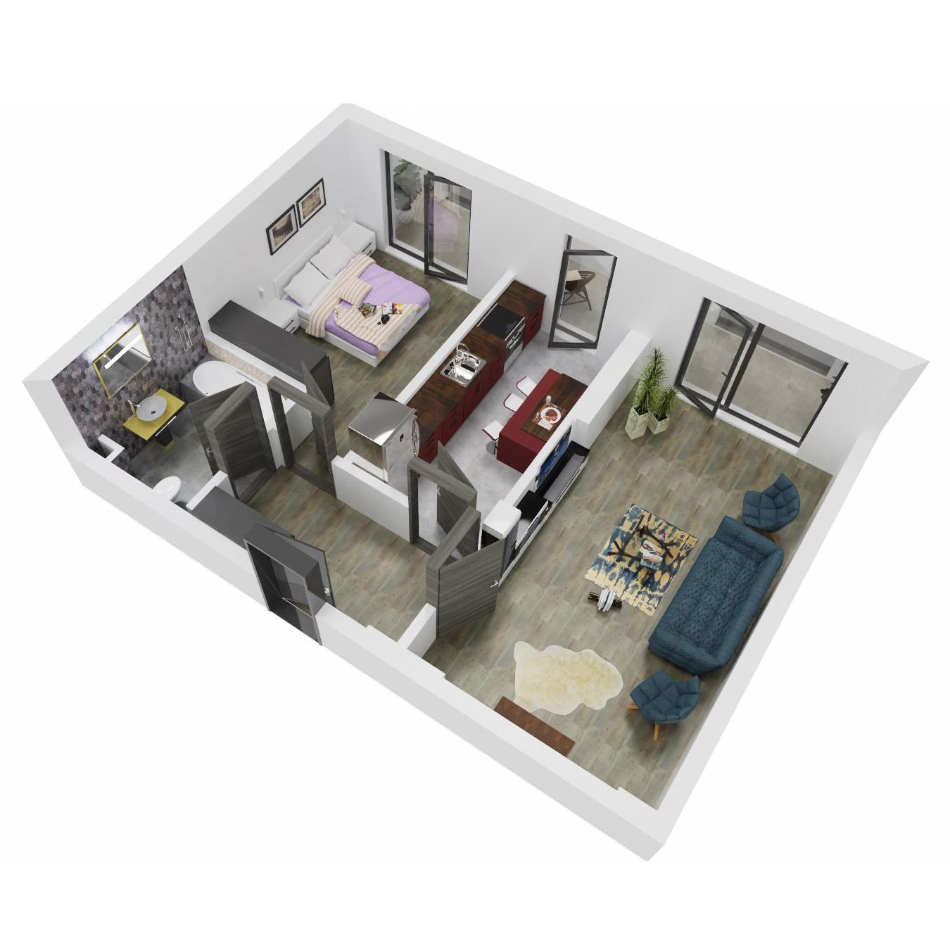 Apartament 2 camere de vanzare Bucuresti - Uverturii Residence - Militari - Lujerului - Gorjului - Tip 11 - T1 - B
