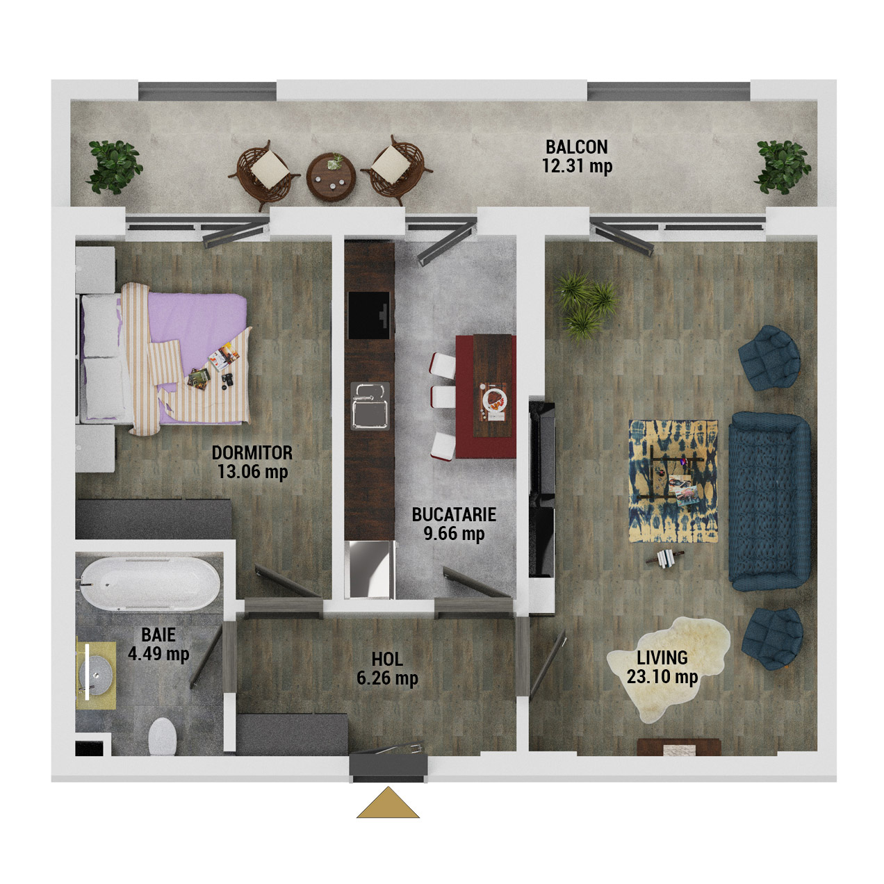 Apartament 2 camere de vanzare Bucuresti - Uverturii Residence - Militari - Lujerului - Gorjului - Tip 11 - T1 - D