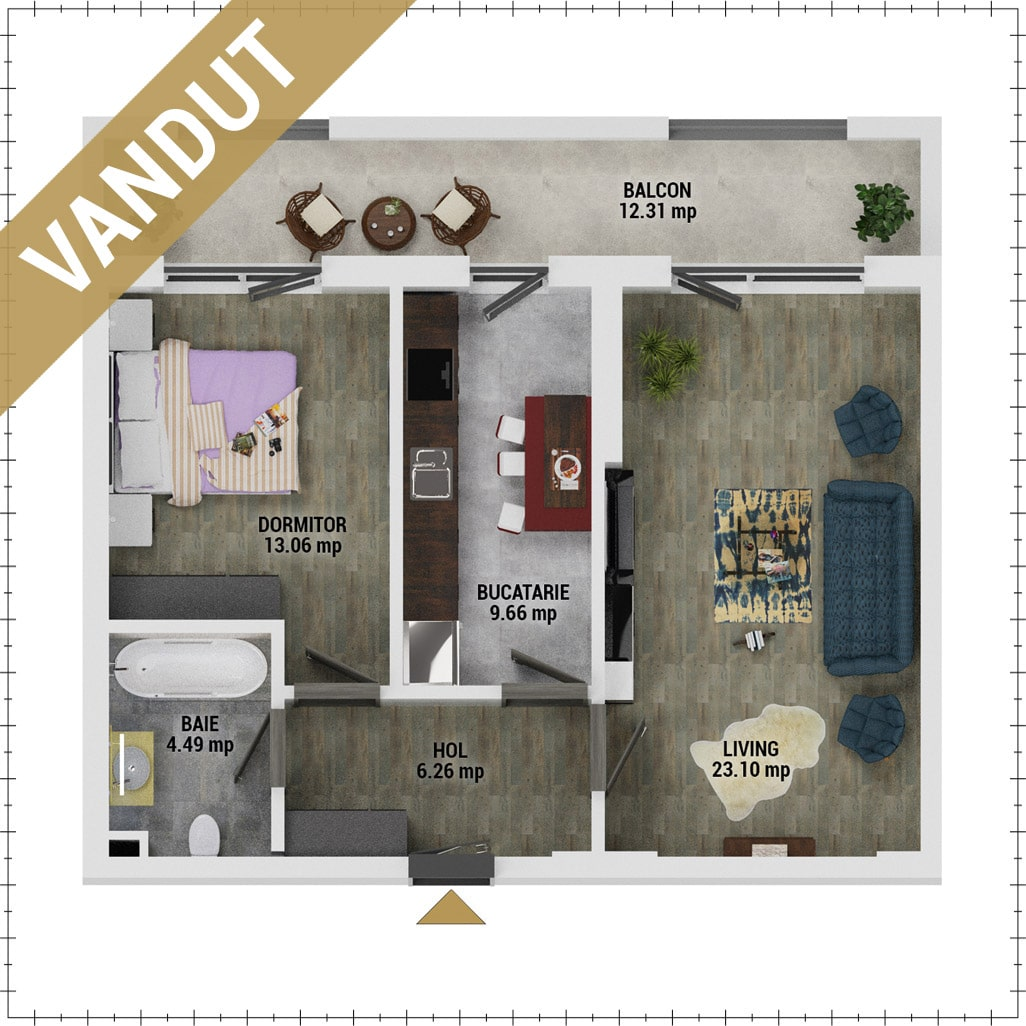 Apartament 2 camere de vanzare Bucuresti - Uverturii Residence - Militari - Lujerului - Gorjului - Tip 11 - T1 - V