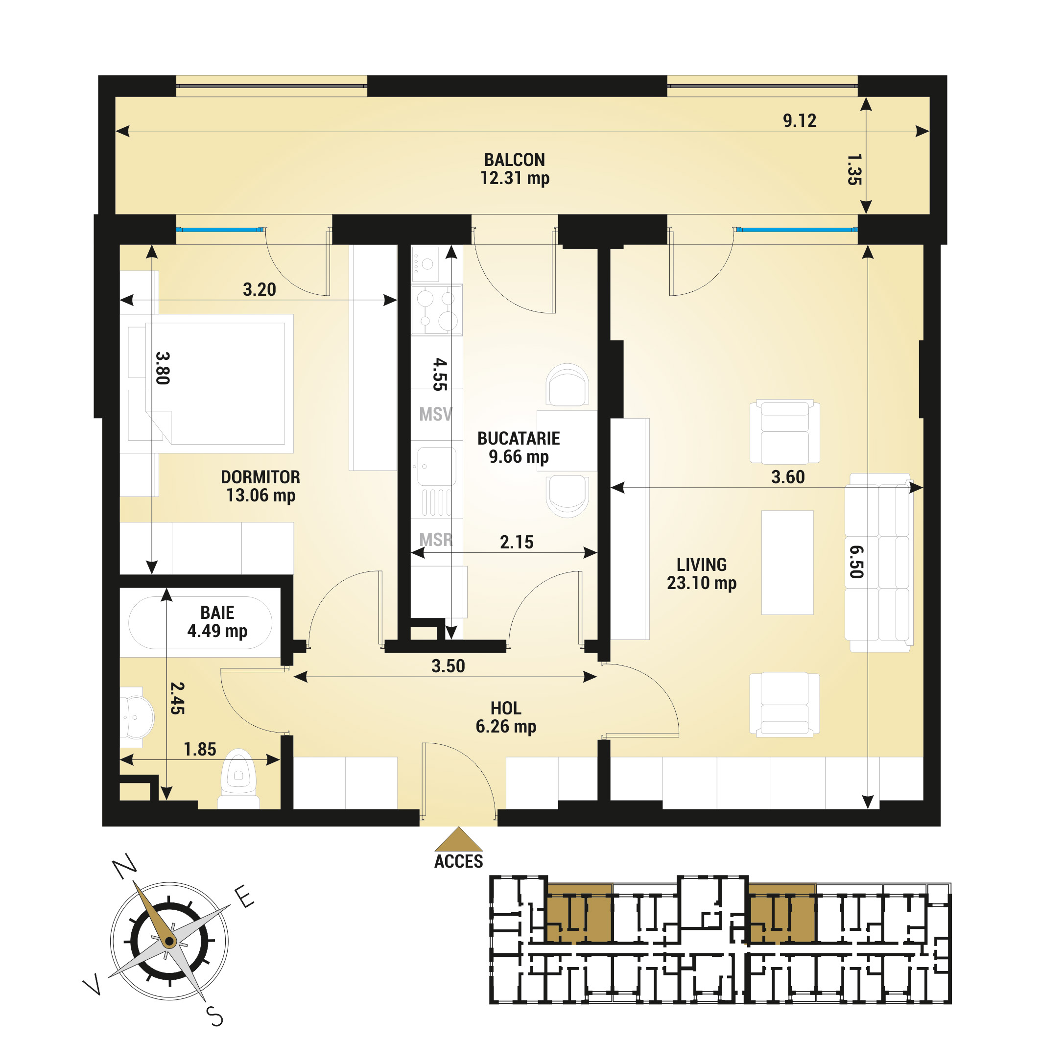 Apartament 2 camere de vanzare Bucuresti - Uverturii Residence - Militari - Lujerului - Gorjului - Tip 11 - T1