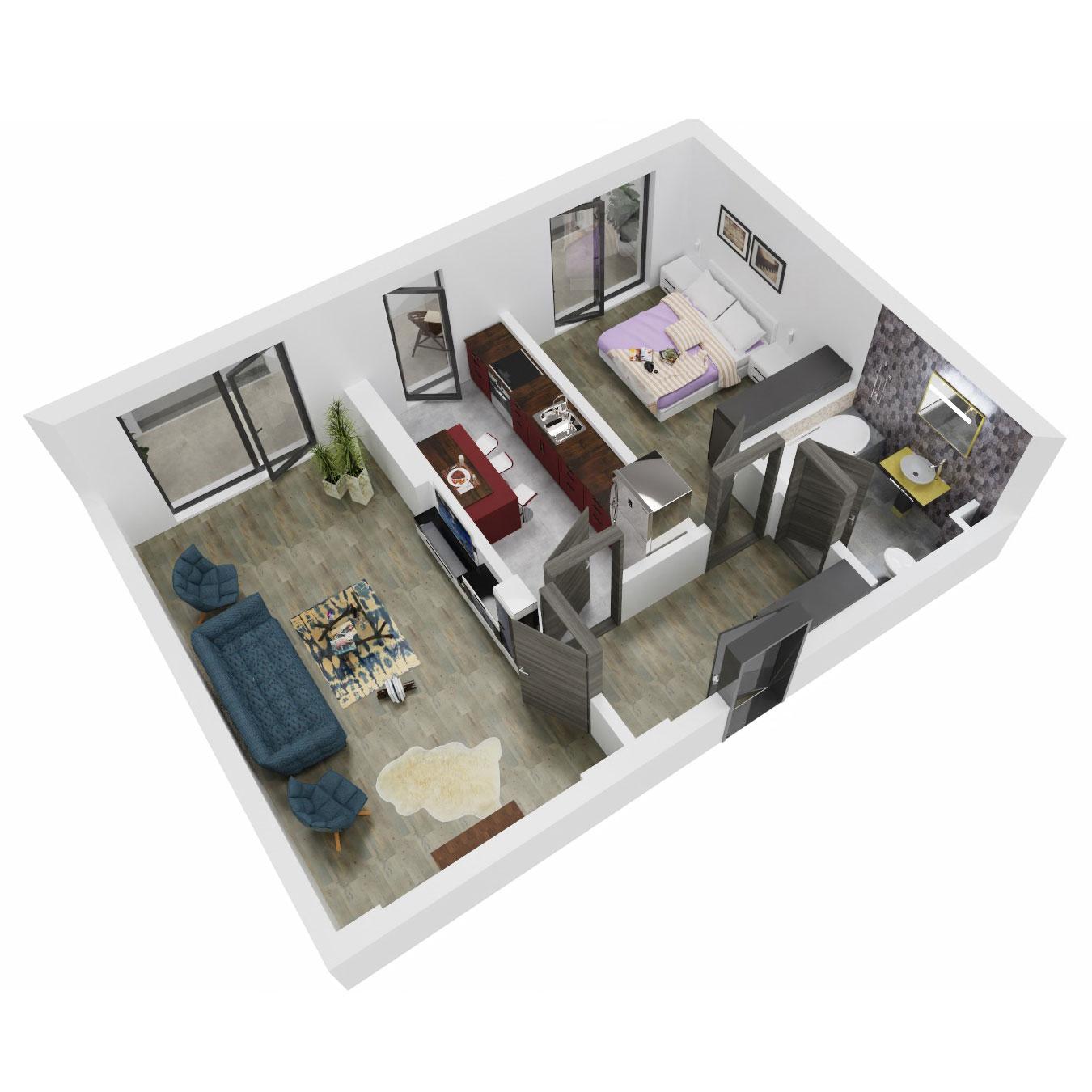 Apartament 2 camere de vanzare Bucuresti - Uverturii Residence - Militari - Lujerului - Gorjului - Tip 11 - T3 - B