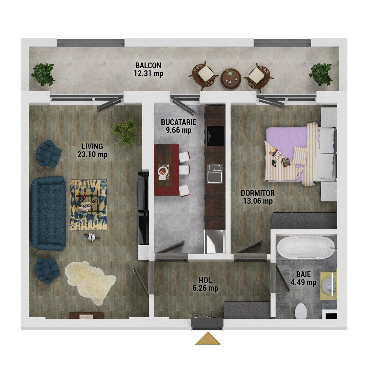Apartament 2 camere de vanzare Bucuresti - Uverturii Residence - Militari - Lujerului - Gorjului - Tip 11 - T3 - E