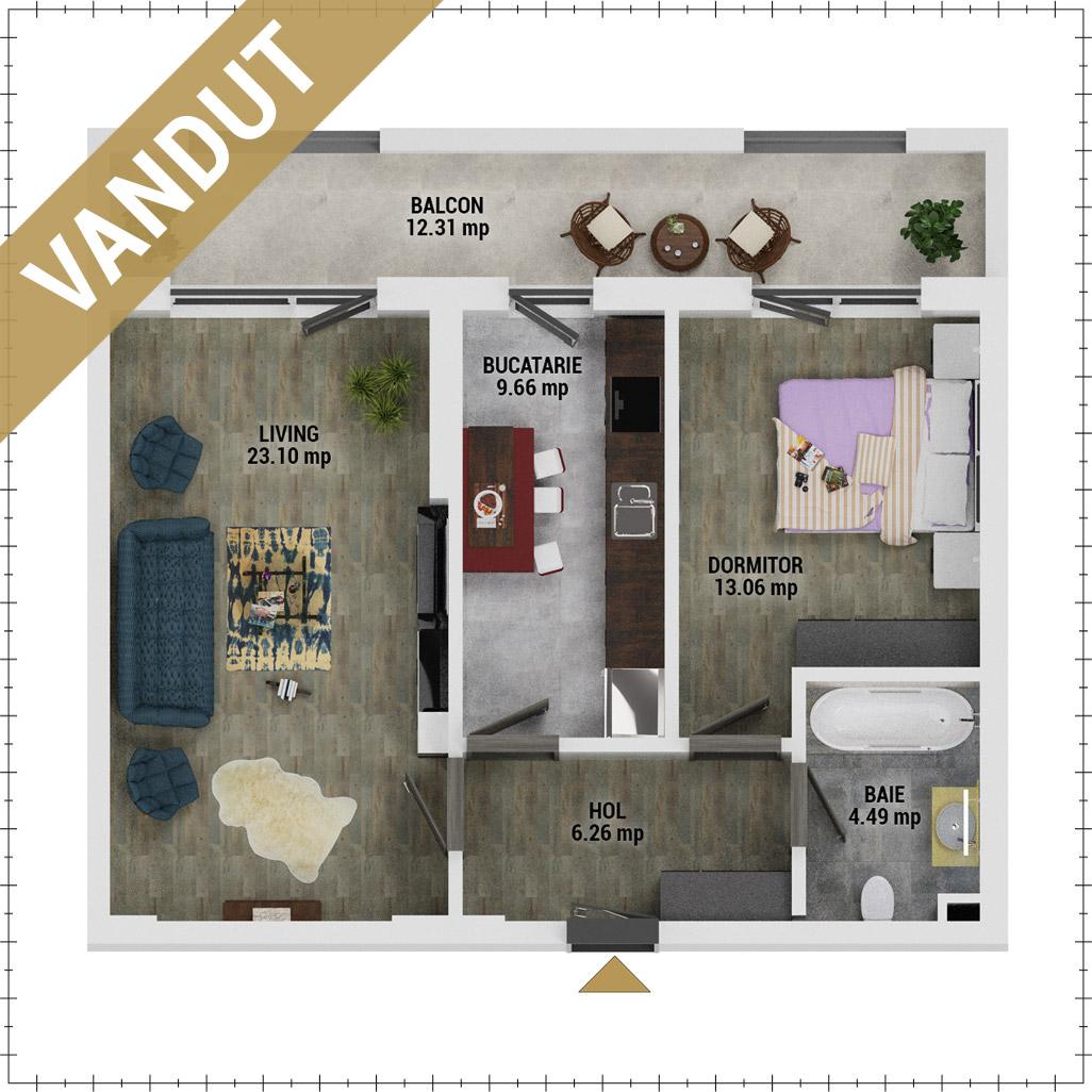 Apartament 2 camere de vanzare Bucuresti - Uverturii Residence - Militari - Lujerului - Gorjului - Tip 11 - T3 - FV