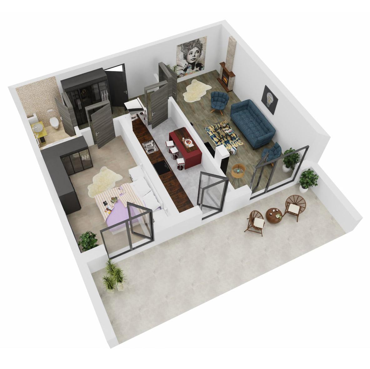 Apartament 2 camere de vanzare Bucuresti - Uverturii Residence - Militari - Lujerului - Gorjului - Tip 12 - T1 - A