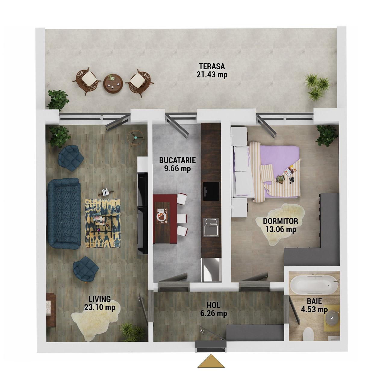 Apartament 2 camere de vanzare Bucuresti - Uverturii Residence - Militari - Lujerului - Gorjului - Tip 12 - T1 - D