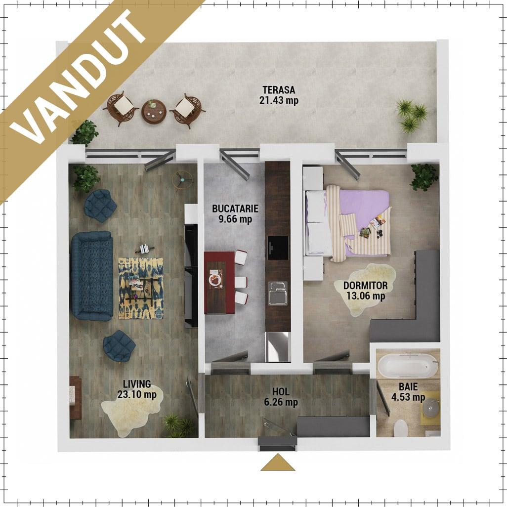 Apartament 2 camere de vanzare Bucuresti - Uverturii Residence - Militari - Lujerului - Gorjului - Tip 12 - T1 - V