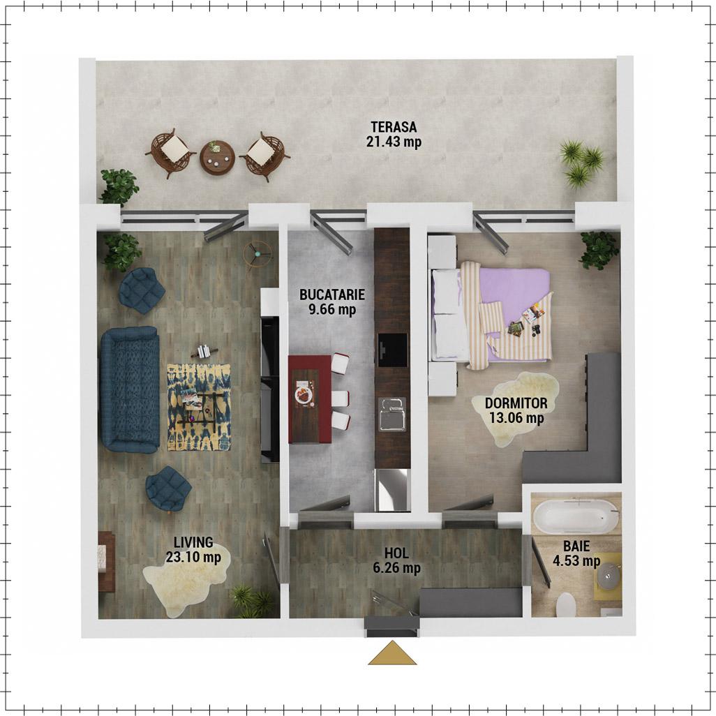 Apartament 2 camere de vanzare Bucuresti - Uverturii Residence - Militari - Lujerului - Gorjului - Tip 12 - T1 - E