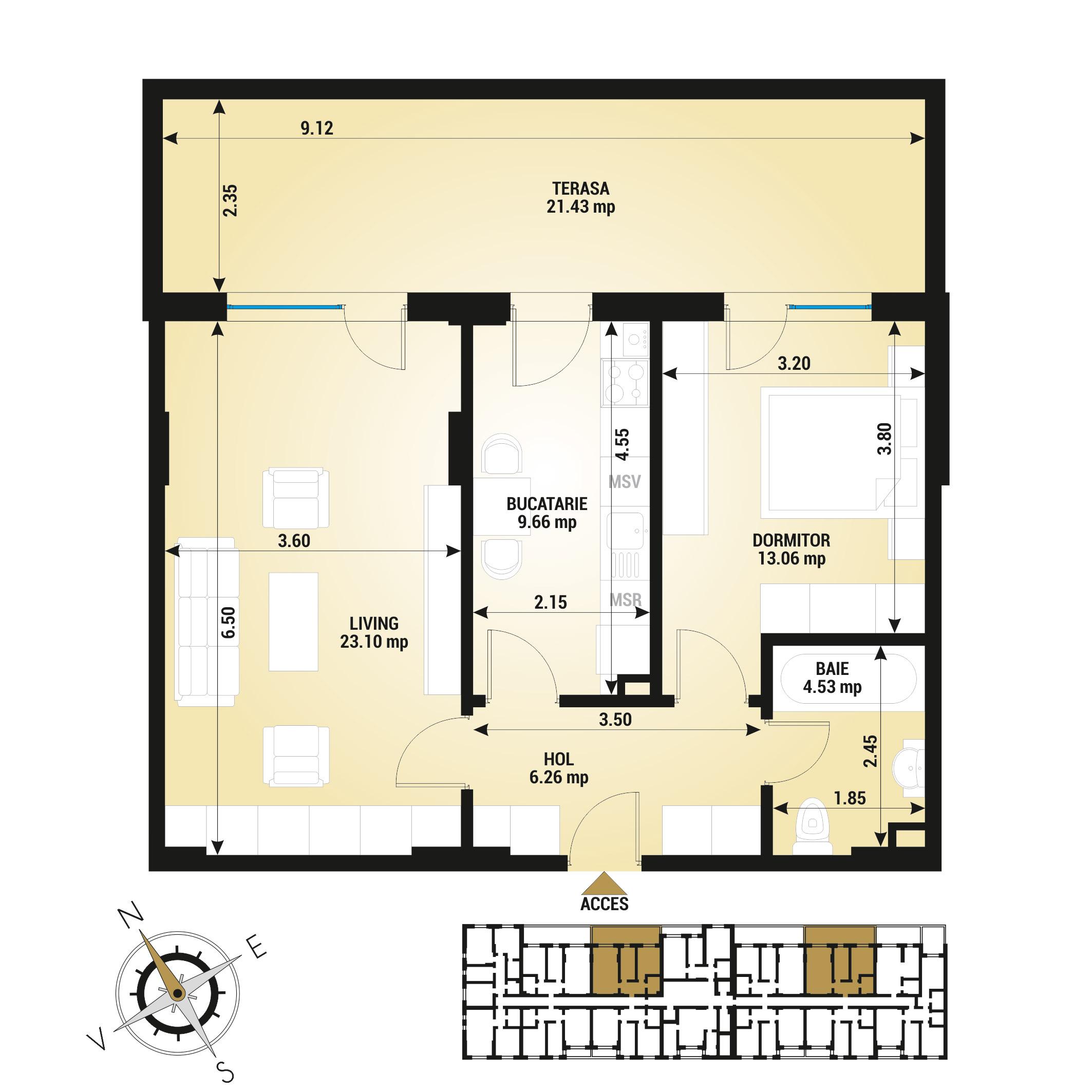 Apartament 2 camere de vanzare Bucuresti - Uverturii Residence - Militari - Lujerului - Gorjului - Tip 12 - T1