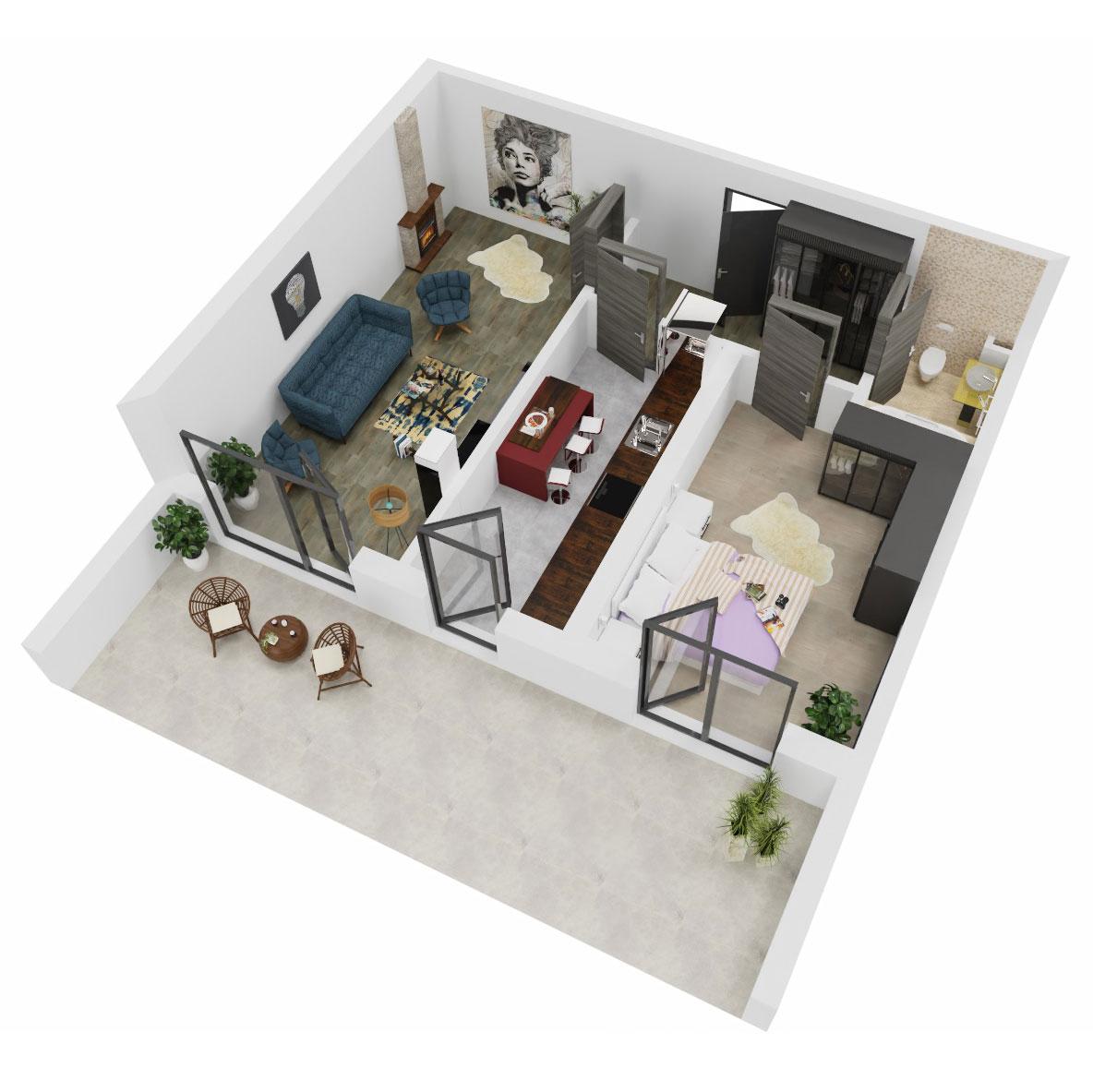 Apartament 2 camere de vanzare Bucuresti - Uverturii Residence - Militari - Lujerului - Gorjului - Tip 12 - T3 - A