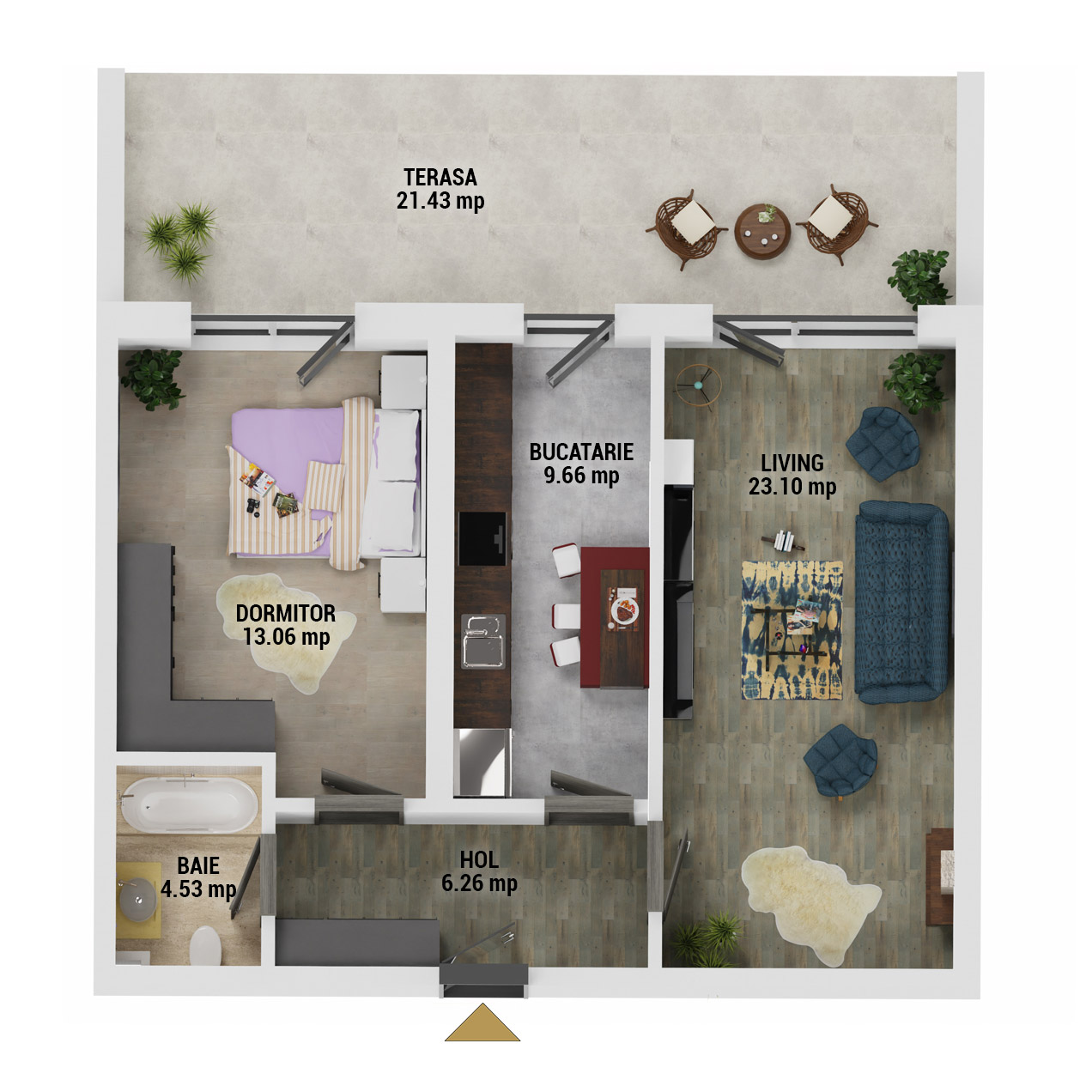 Apartament 2 camere de vanzare Bucuresti - Uverturii Residence - Militari - Lujerului - Gorjului - Tip 12 - T3 - E