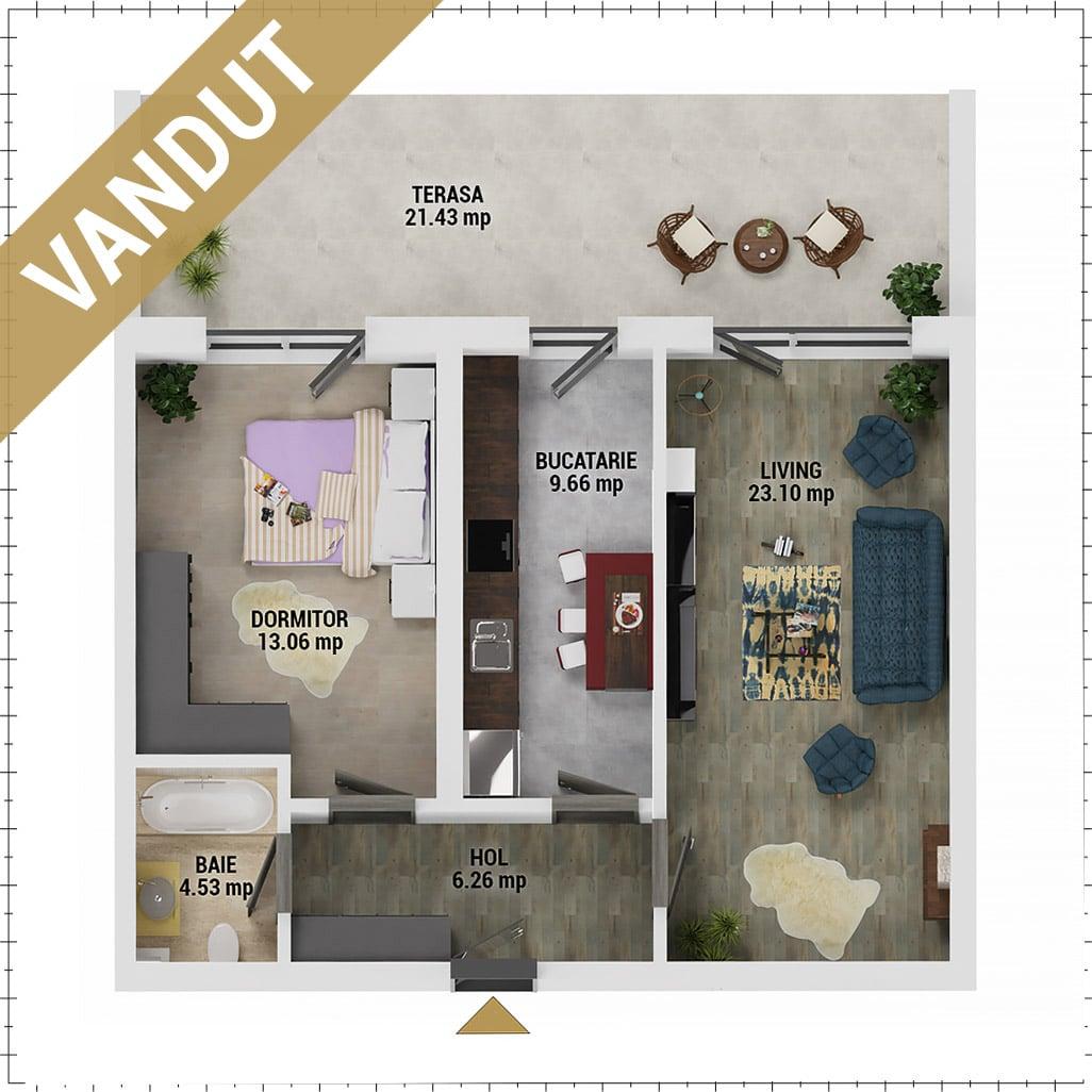 Apartament 2 camere de vanzare Bucuresti - Uverturii Residence - Militari - Lujerului - Gorjului - Tip 12 - T3 - V