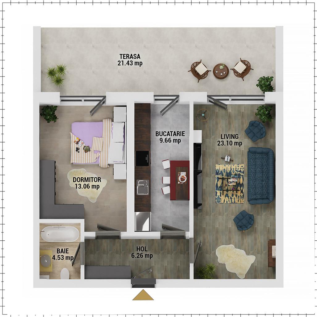 Apartament 2 camere de vanzare Bucuresti - Uverturii Residence - Militari - Lujerului - Gorjului - Tip 12 - T3 - F