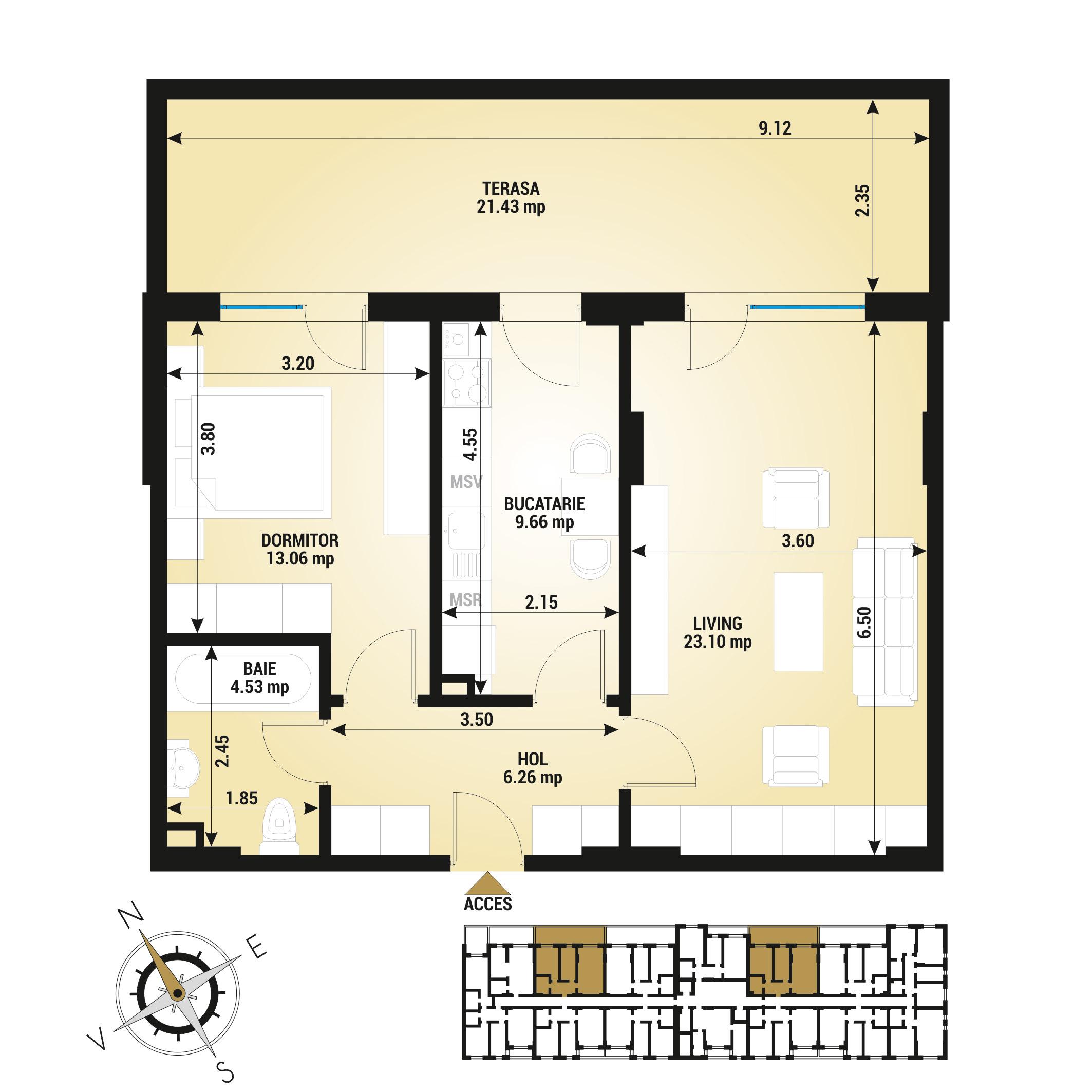 Apartament 2 camere de vanzare Bucuresti - Uverturii Residence - Militari - Lujerului - Gorjului - Tip 12 - T3