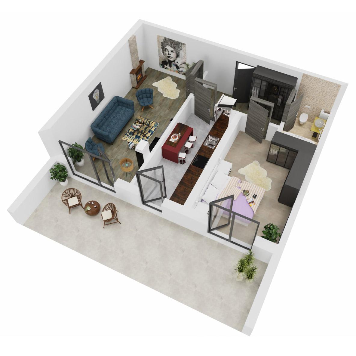 Apartament 2 camere de vanzare Bucuresti - Uverturii Residence - Militari - Lujerului - Gorjului - Tip 13 - T1 - A