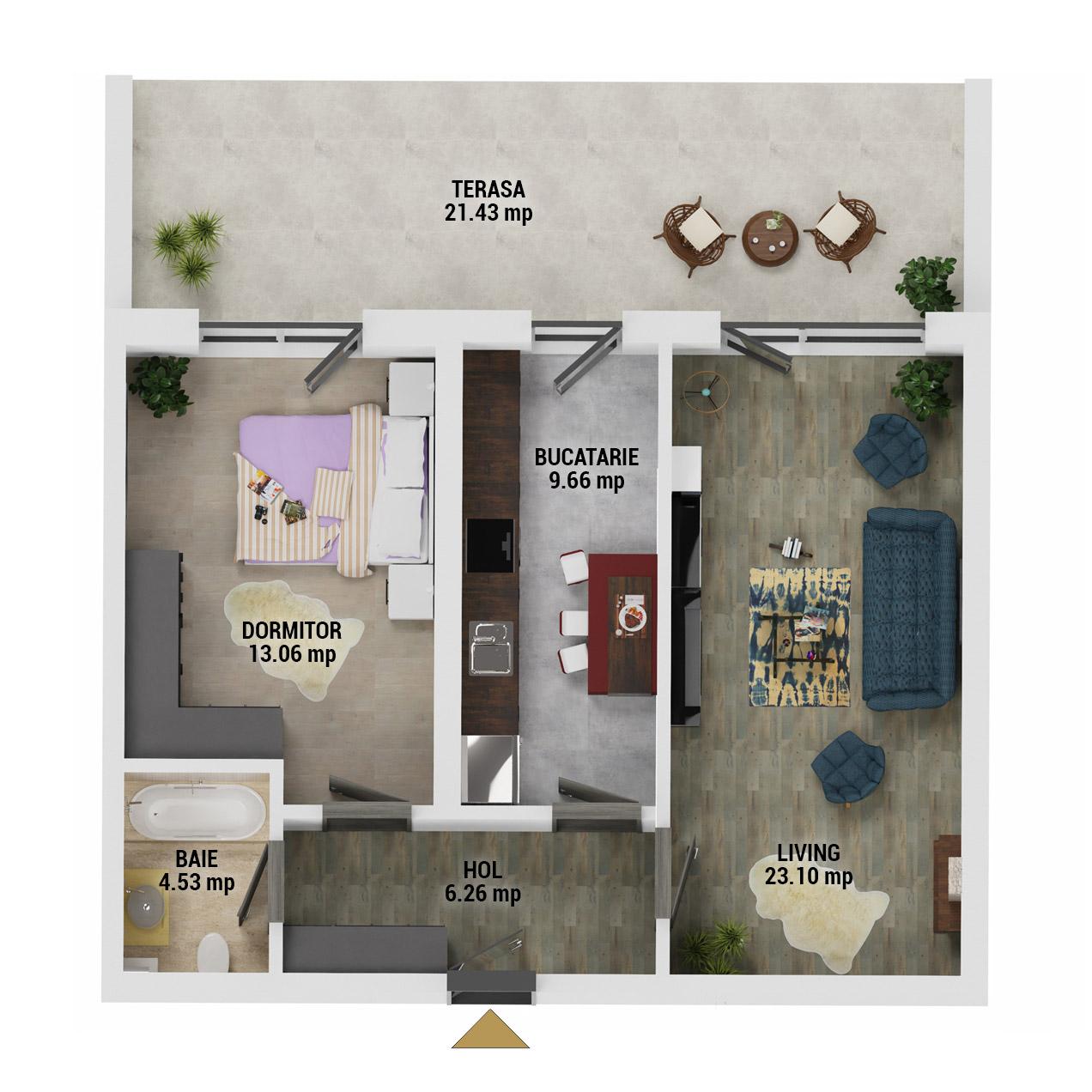 Apartament 2 camere de vanzare Bucuresti - Uverturii Residence - Militari - Lujerului - Gorjului - Tip 13 - T1 - D