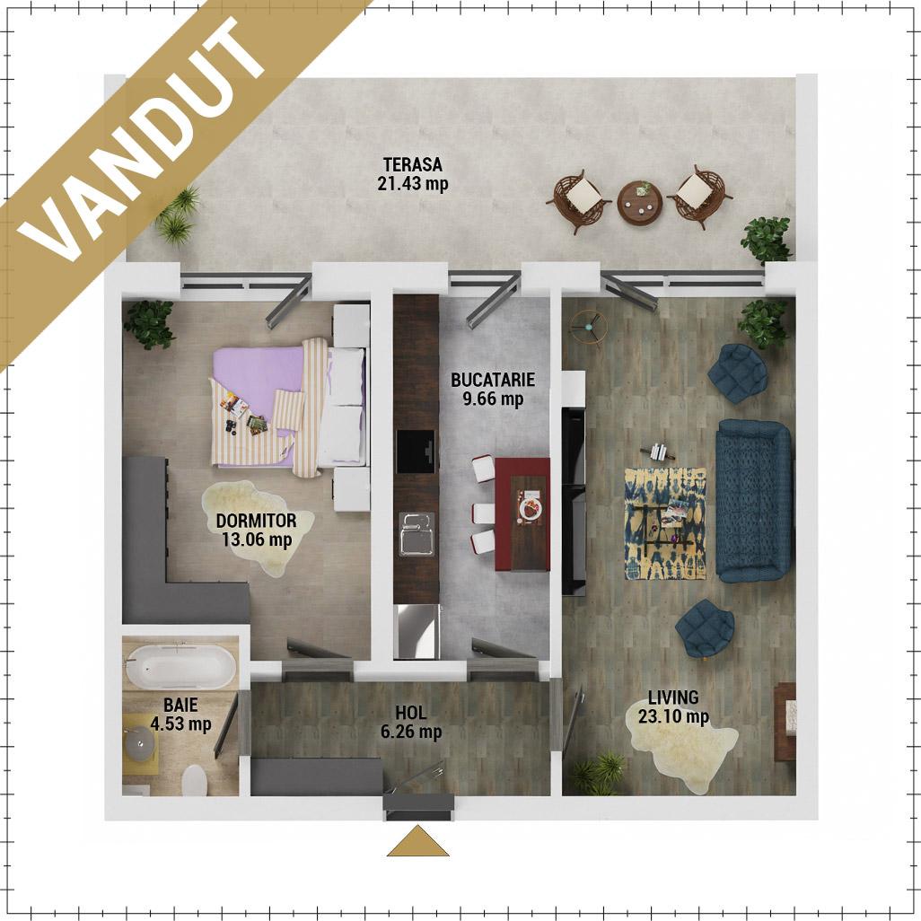 Apartament 2 camere de vanzare Bucuresti - Uverturii Residence - Militari - Lujerului - Gorjului - Tip 13 - T1 - V
