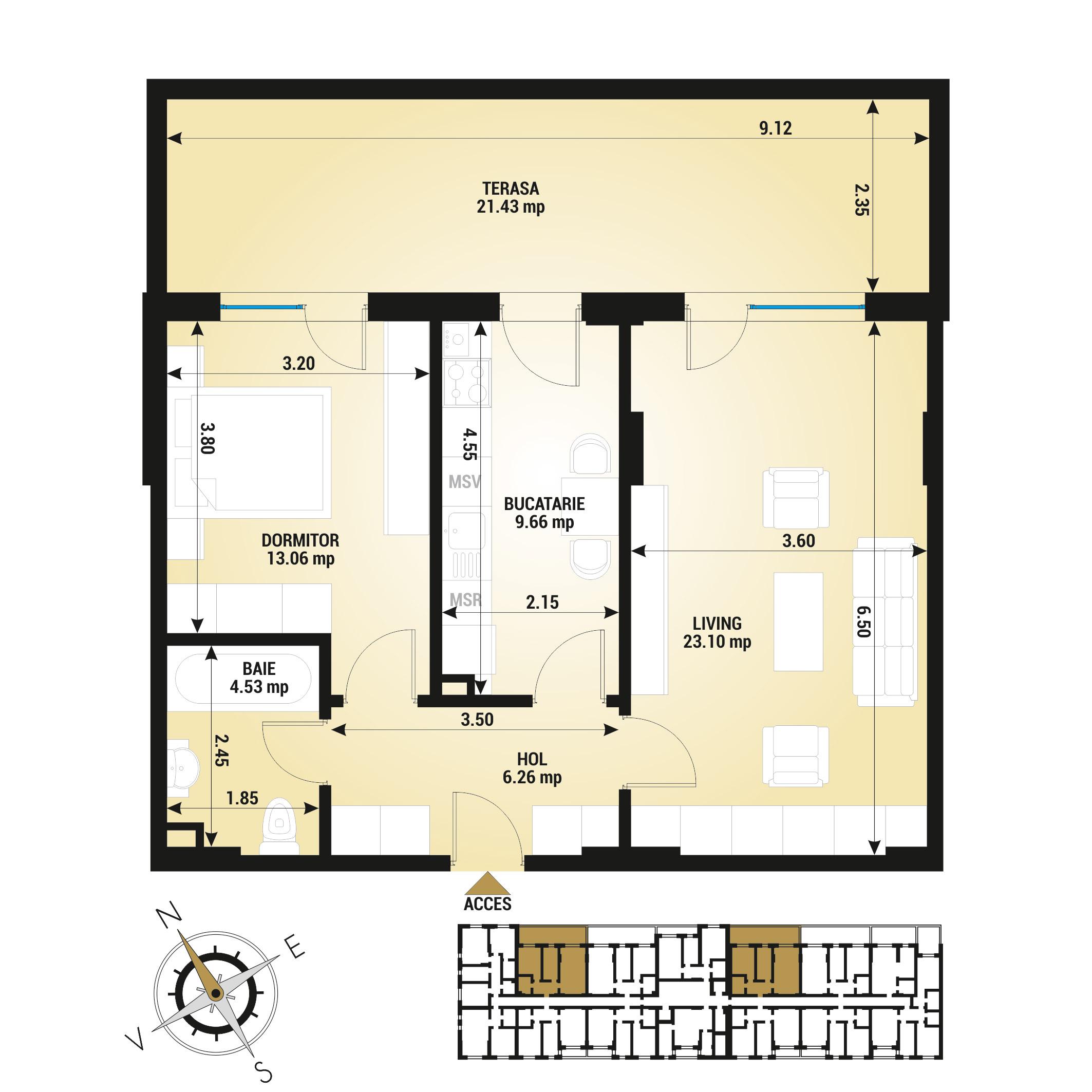 Apartament 2 camere de vanzare Bucuresti - Uverturii Residence - Militari - Lujerului - Gorjului - Tip 13 - T1