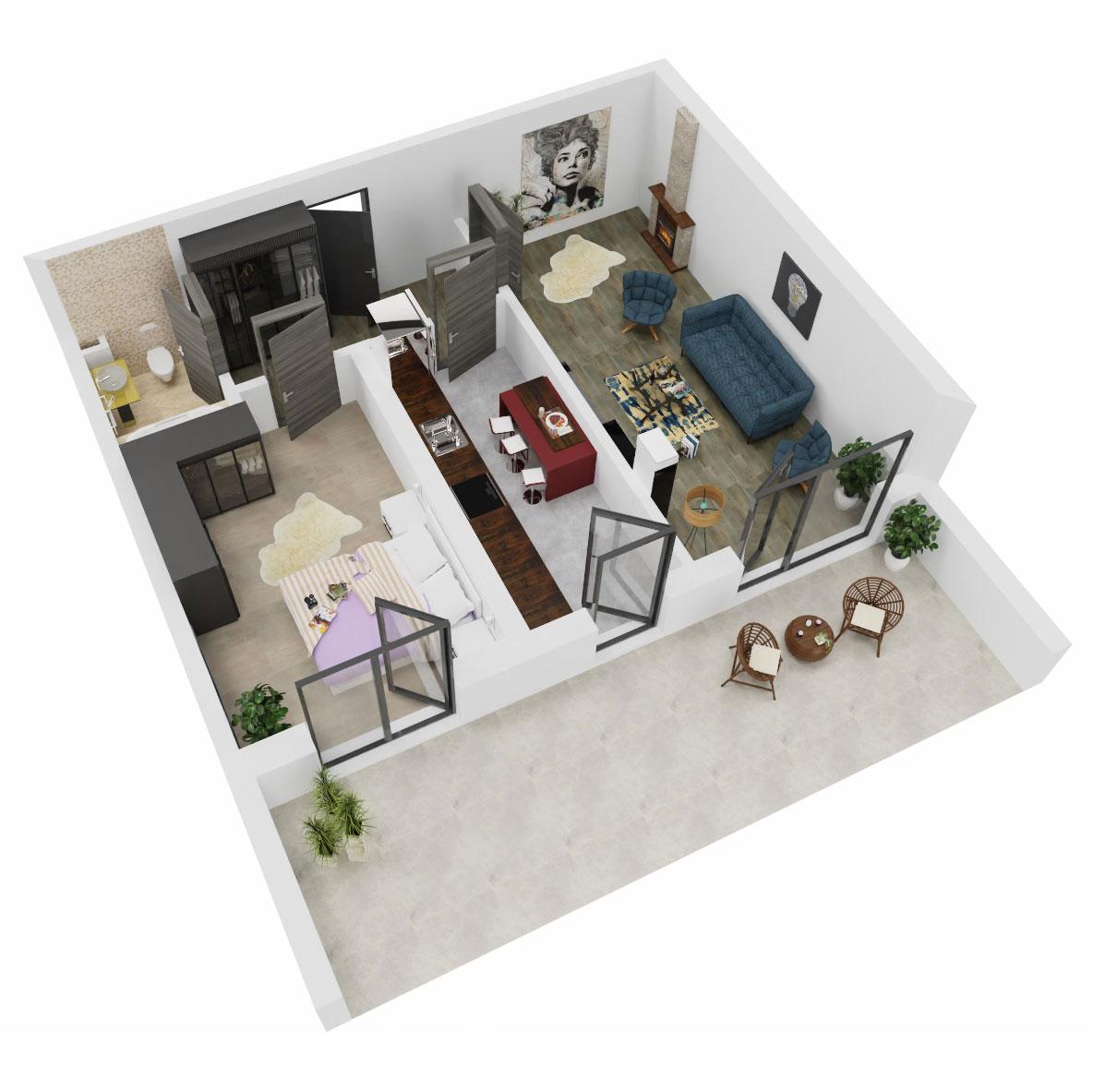 Apartament 2 camere de vanzare Bucuresti - Uverturii Residence - Militari - Lujerului - Gorjului - Tip 13 - T3 - A