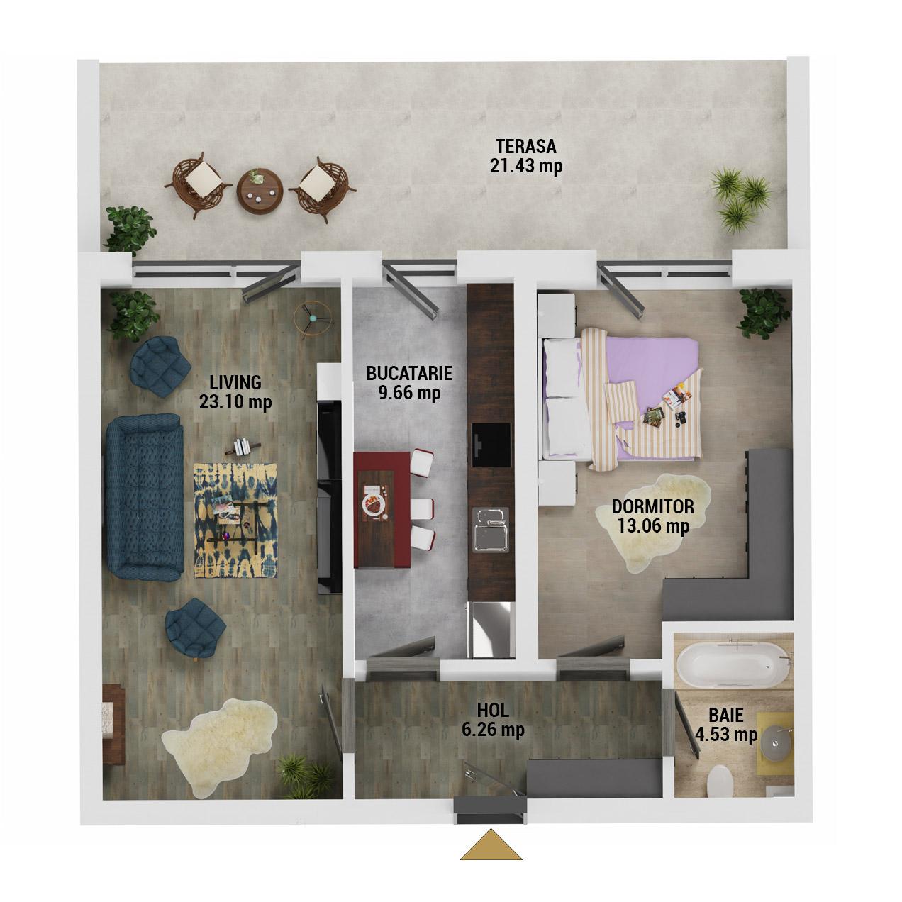 Apartament 2 camere de vanzare Bucuresti - Uverturii Residence - Militari - Lujerului - Gorjului - Tip 13 - T3 - E