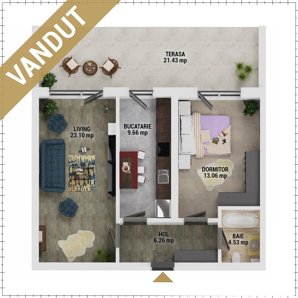Apartament 2 camere de vanzare Bucuresti - Uverturii Residence - Militari - Lujerului - Gorjului - Tip 13 - T3 - V
