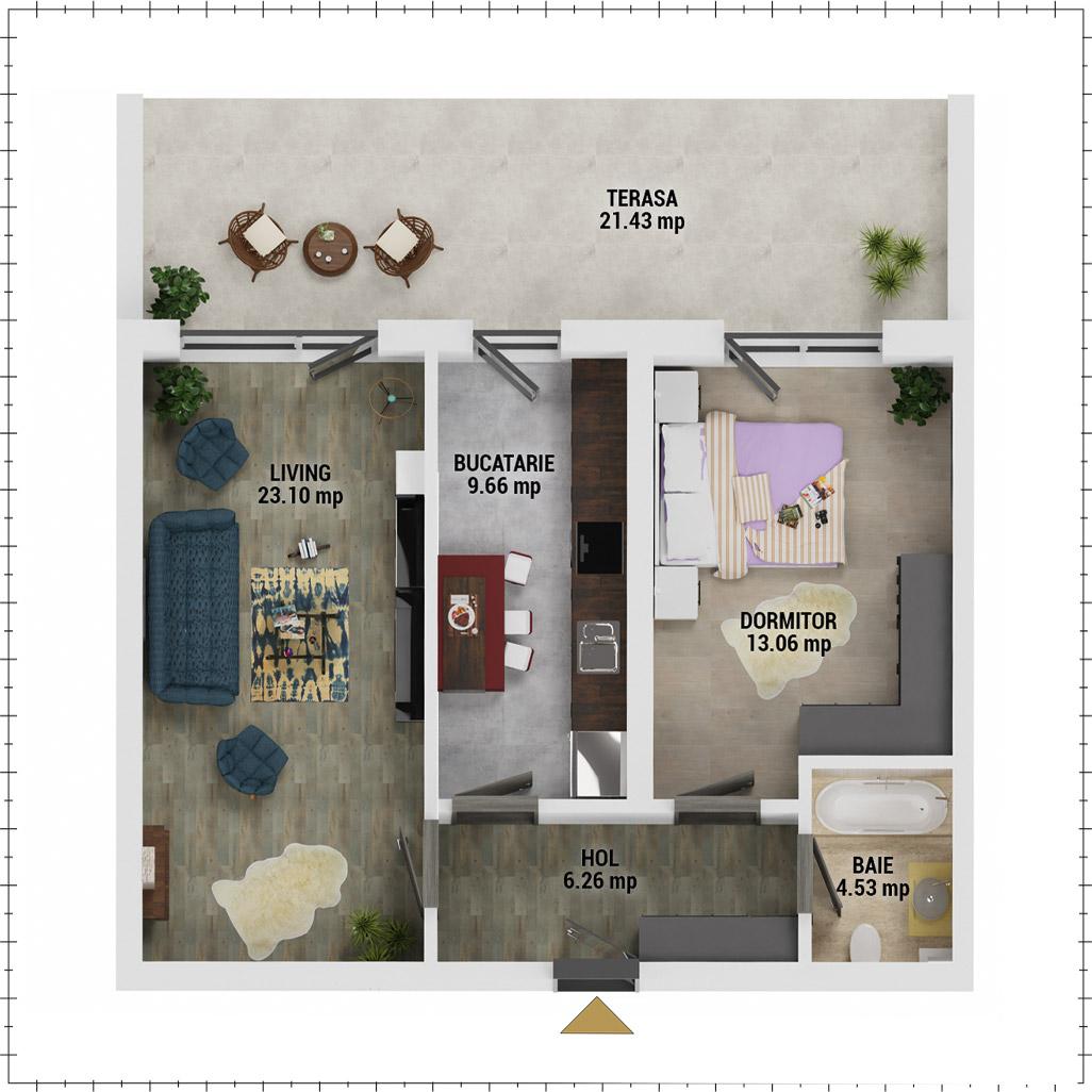 Apartament 2 camere de vanzare Bucuresti - Uverturii Residence - Militari - Lujerului - Gorjului - Tip 13 - T3 - F