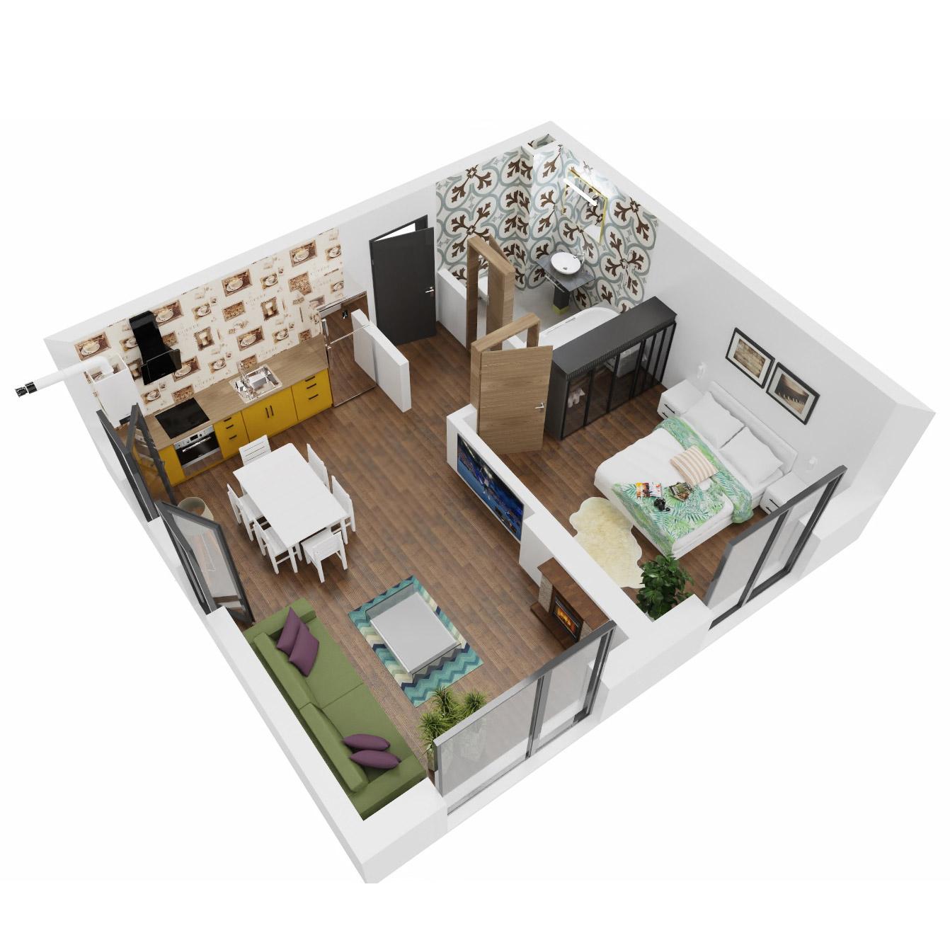 Apartament 2 camere de vanzare Bucuresti - Uverturii Residence - Militari - Lujerului - Gorjului - Tip 1D - T1 - A