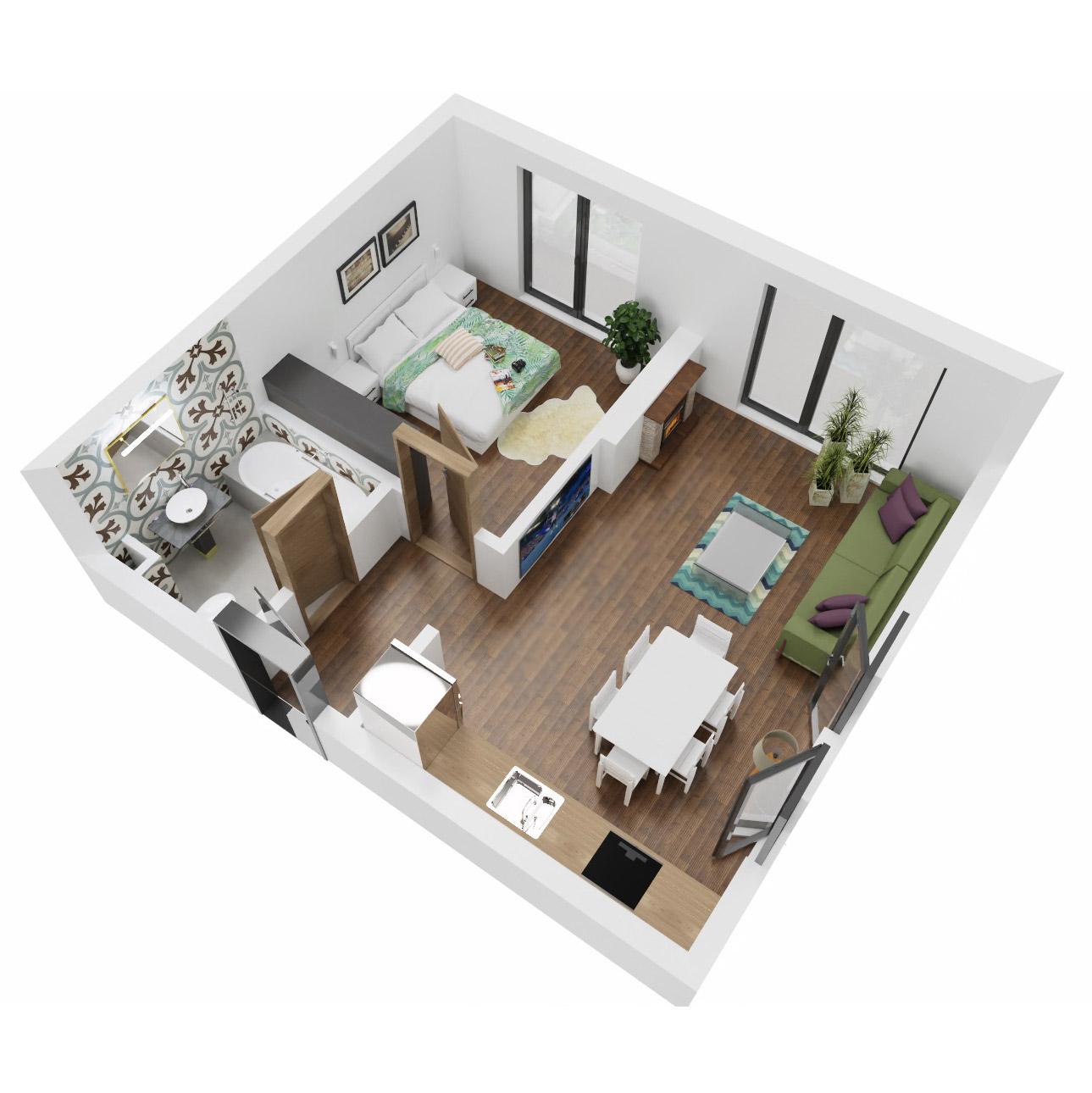 Apartament 2 camere de vanzare Bucuresti - Uverturii Residence - Militari - Lujerului - Gorjului - Tip 1D - T1 - B