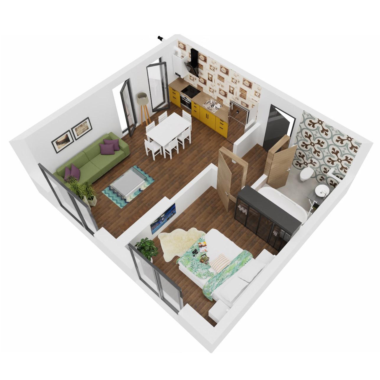 Apartament 2 camere de vanzare Bucuresti - Uverturii Residence - Militari - Lujerului - Gorjului - Tip 1D - T1 - C