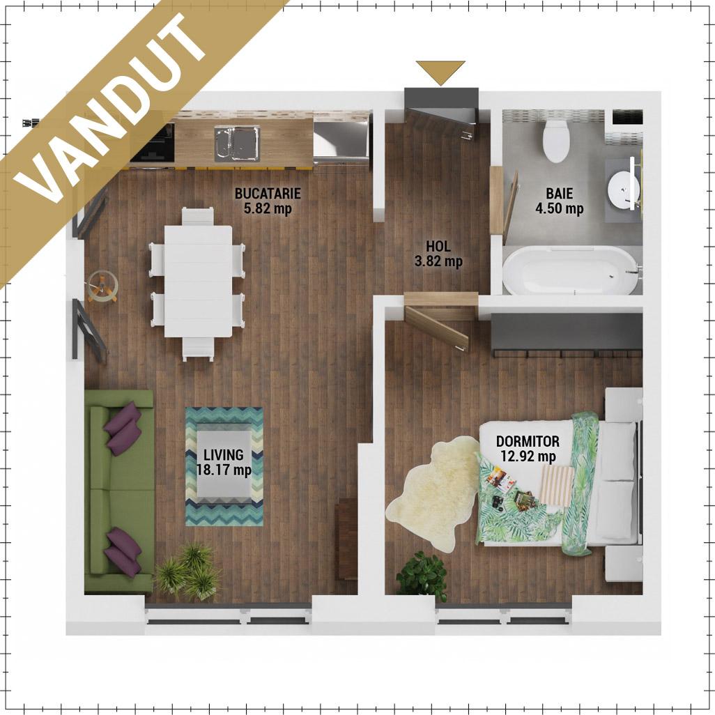Apartament 2 camere de vanzare Bucuresti - Uverturii Residence - Militari - Lujerului - Gorjului - Tip 1D - T1 - EV