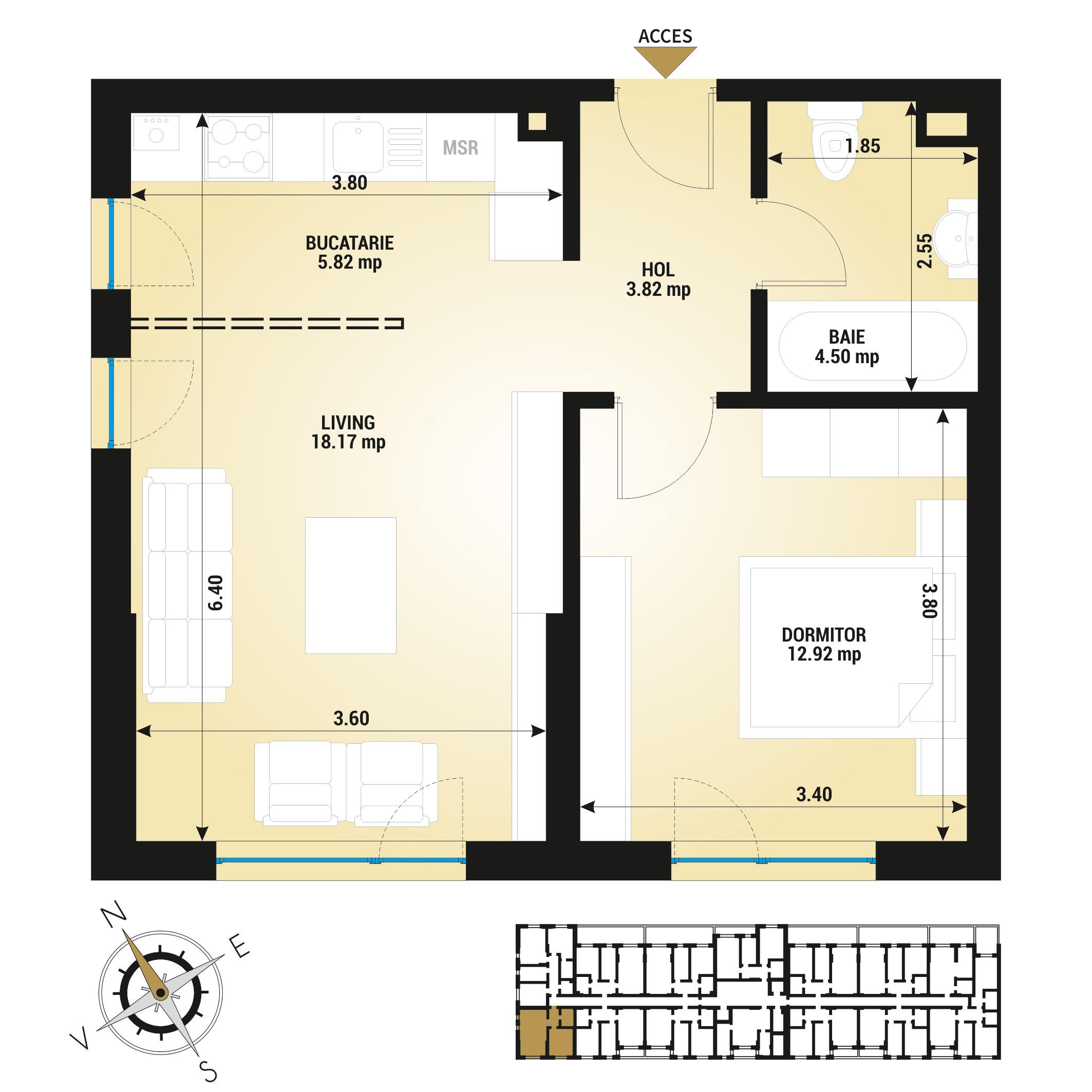 Apartament 2 camere de vanzare Bucuresti - Uverturii Residence - Militari - Lujerului - Gorjului - Tip 1D - T1
