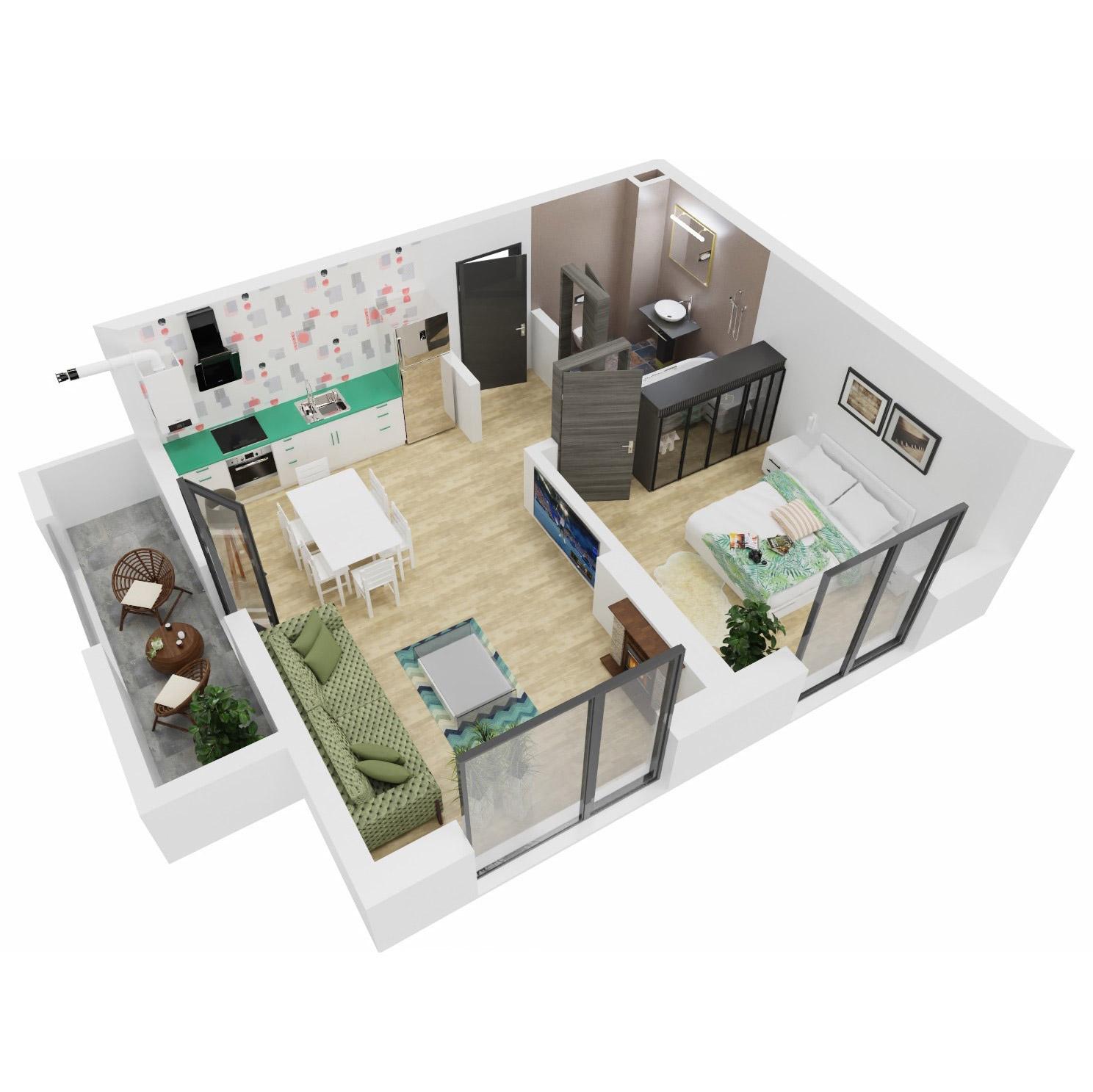Apartament 2 camere de vanzare Bucuresti - Uverturii Residence - Militari - Lujerului - Gorjului - Tip 2 - T1 - A