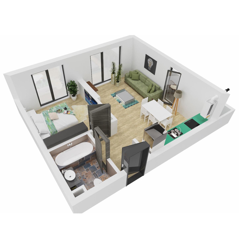 Apartament 2 camere de vanzare Bucuresti - Uverturii Residence - Militari - Lujerului - Gorjului - Tip 2 - T1 - B