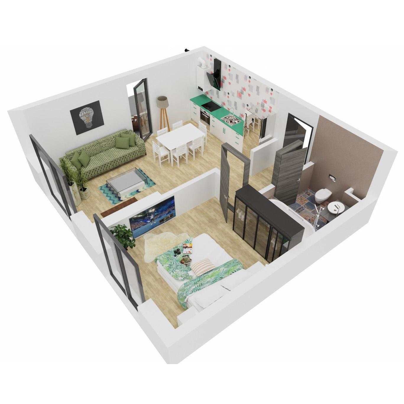 Apartament 2 camere de vanzare Bucuresti - Uverturii Residence - Militari - Lujerului - Gorjului - Tip 2 - T1 - C