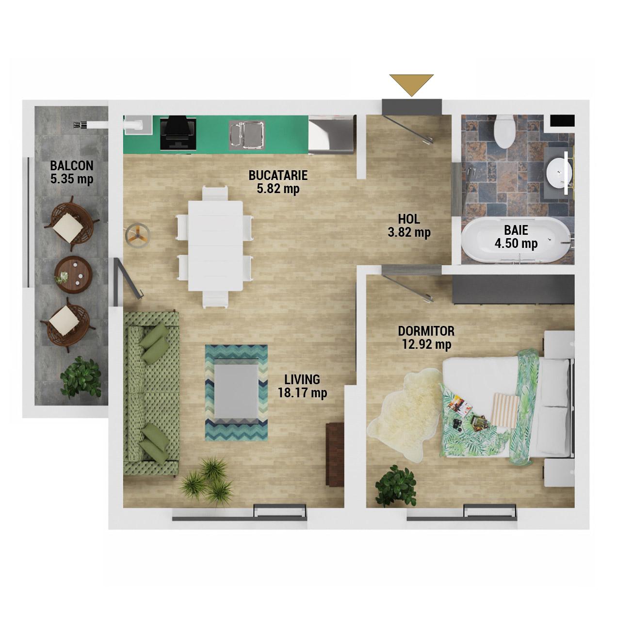 Apartament 2 camere de vanzare Bucuresti - Uverturii Residence - Militari - Lujerului - Gorjului - Tip 2 - T1 - D