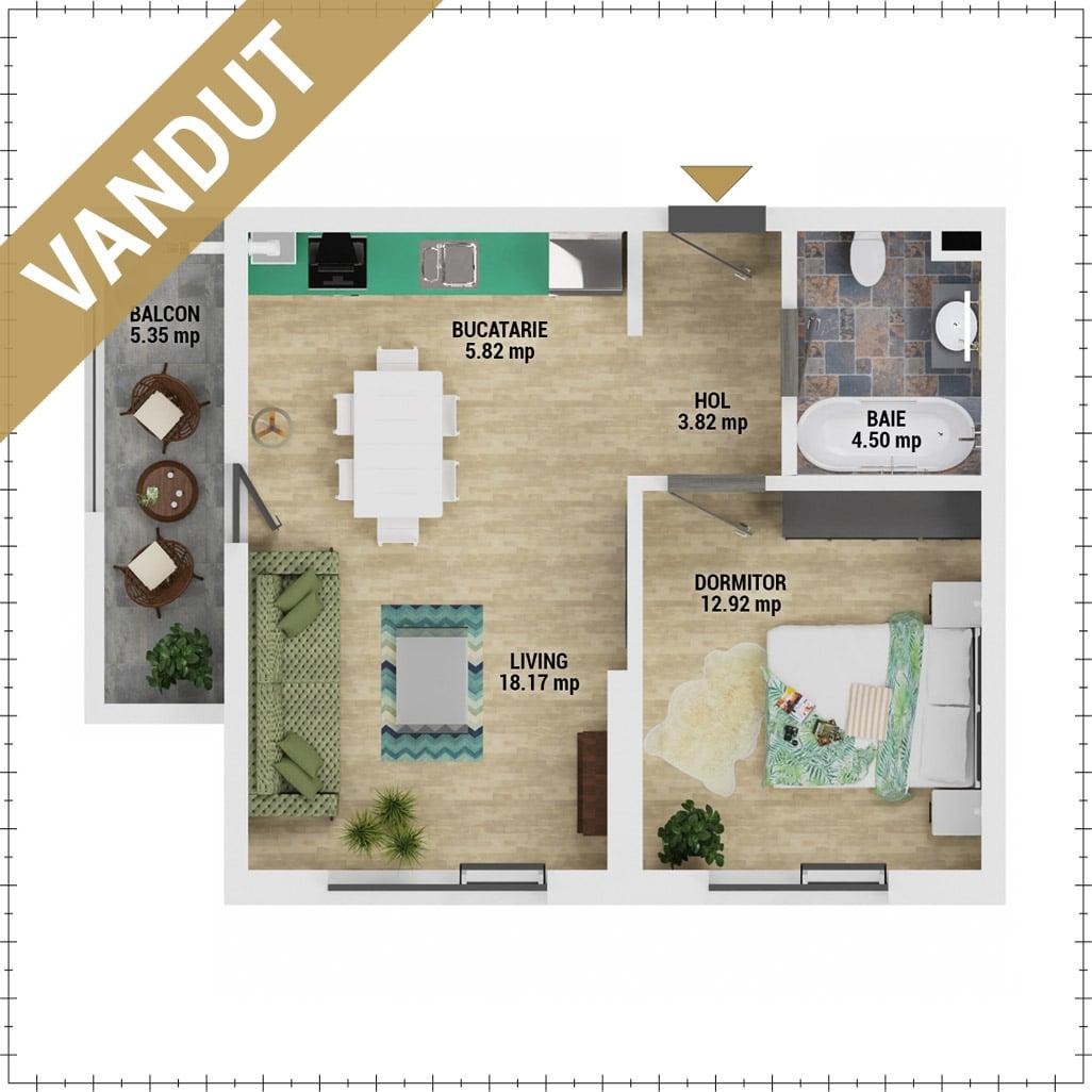Apartament 2 camere de vanzare Bucuresti - Uverturii Residence - Militari - Lujerului - Gorjului - Tip 2 - T1 - V