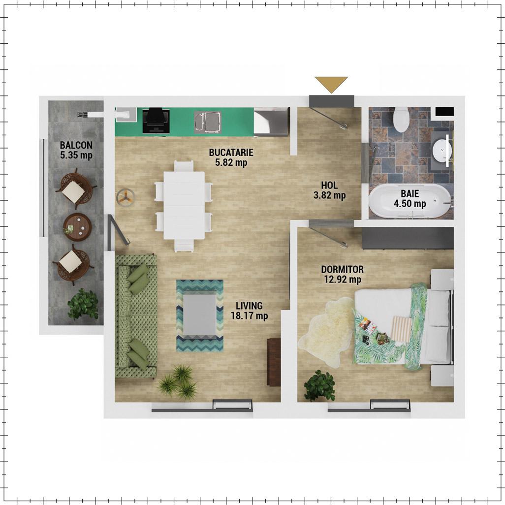Apartament 2 camere de vanzare Bucuresti - Uverturii Residence - Militari - Lujerului - Gorjului - Tip 2 - T1 - E