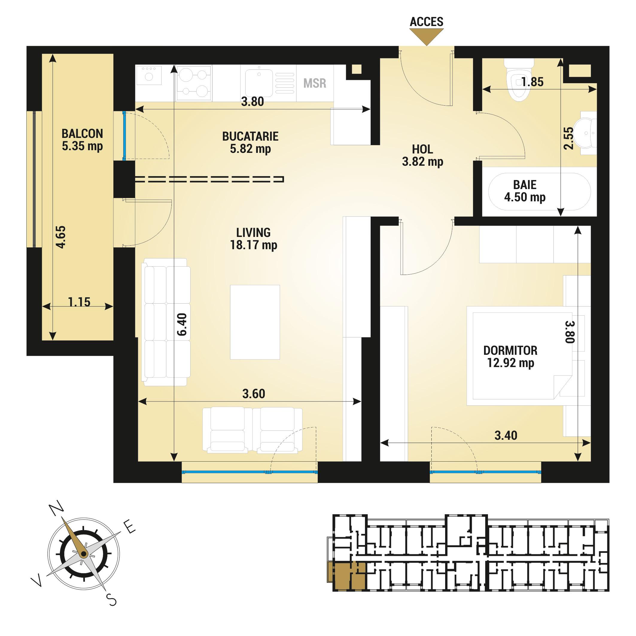 Apartament 2 camere de vanzare Bucuresti - Uverturii Residence - Militari - Lujerului - Gorjului - Tip 2 - T1