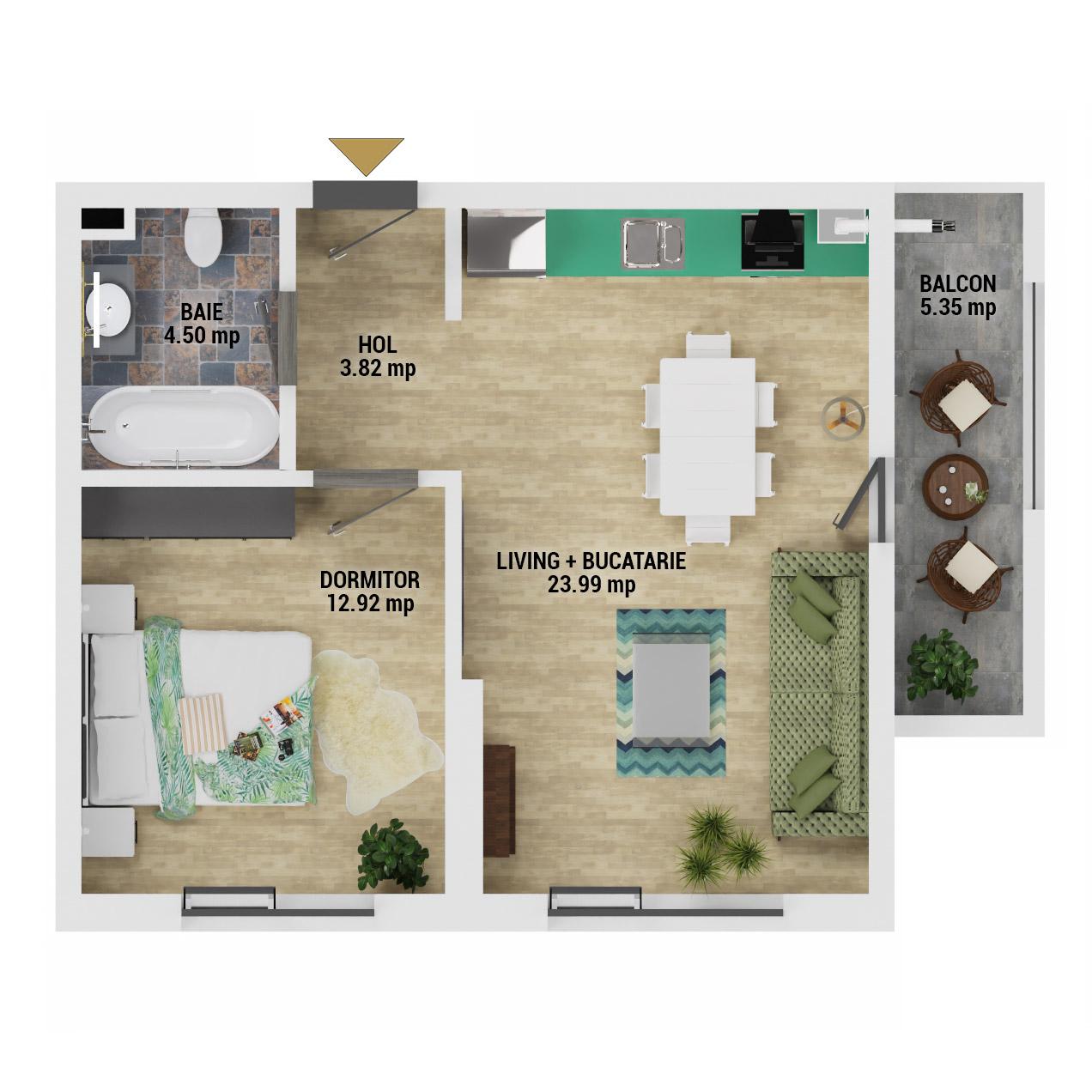Apartament 2 camere de vanzare Bucuresti - Uverturii Residence - Militari - Lujerului - Gorjului - Tip 2 - T3 - E